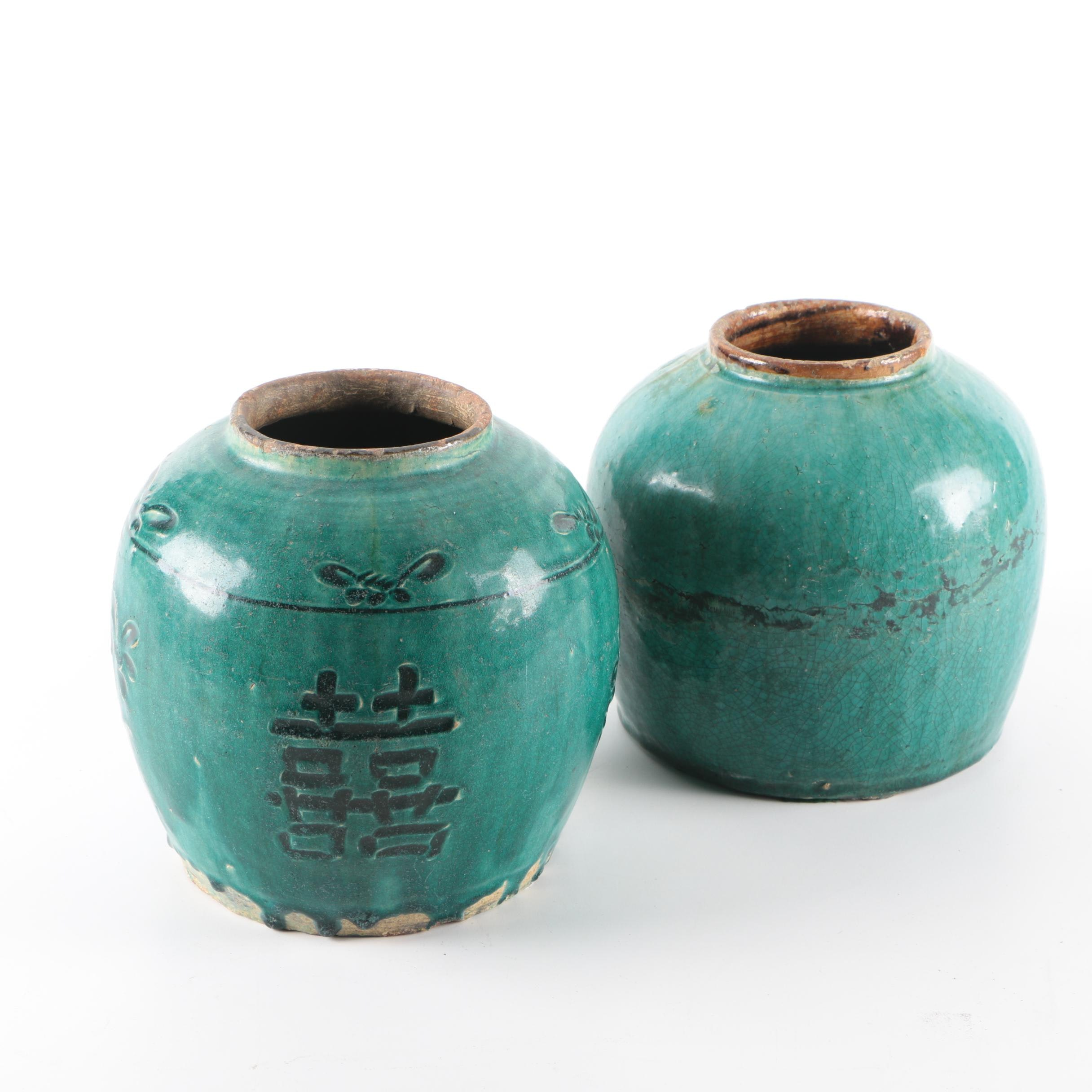 "Green Glazed Chinese ""Double Happiness"" Motif Ceramic Vases"