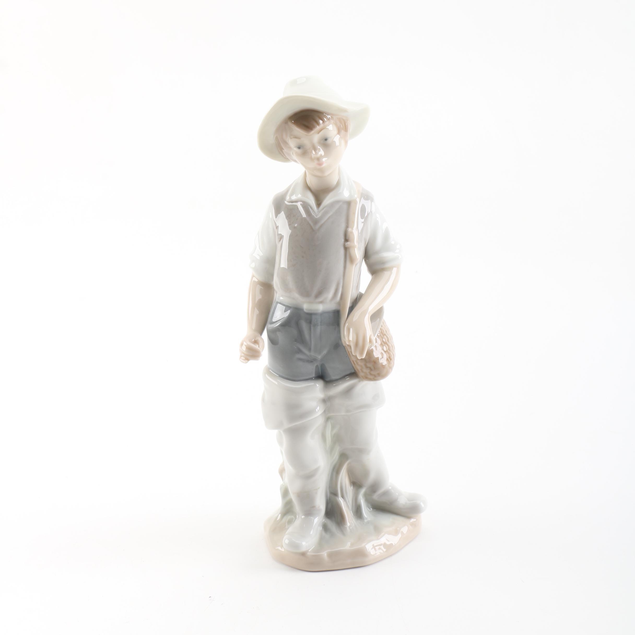 "Lladró ""Going Fishing"" Porcelain Figurine"