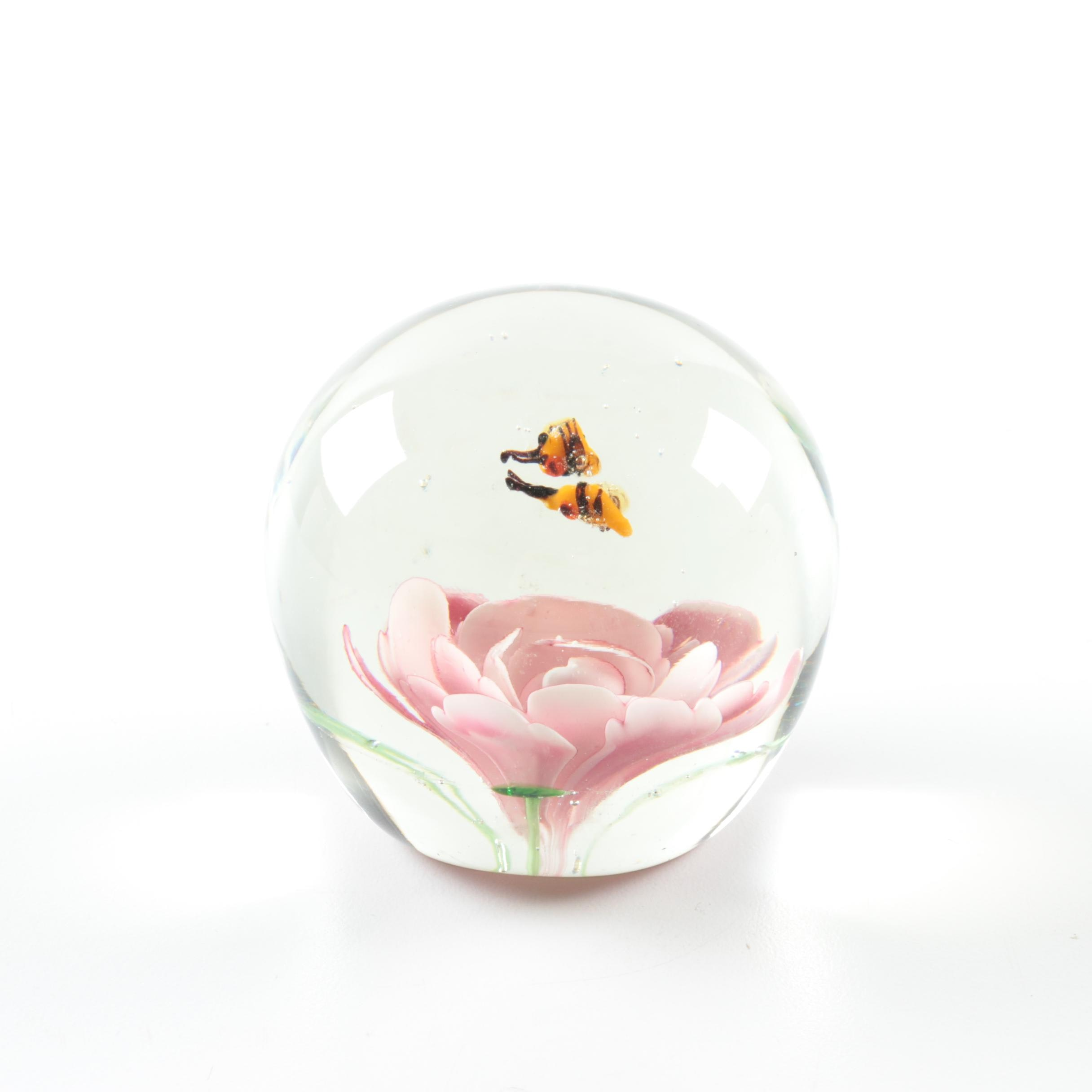 Glass Flower and Bees Paperweight