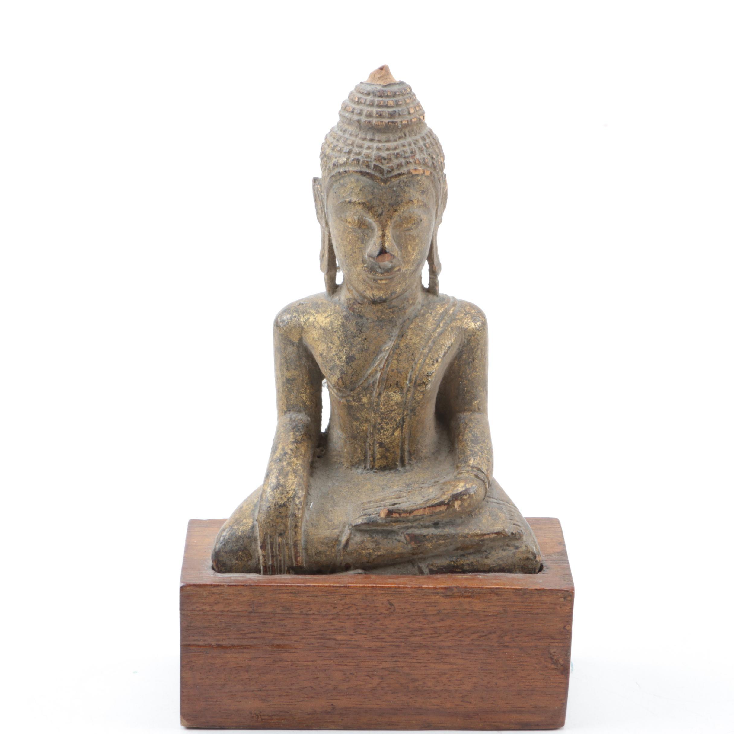 Gilt Gautama Buddha Statue Carved From Wood