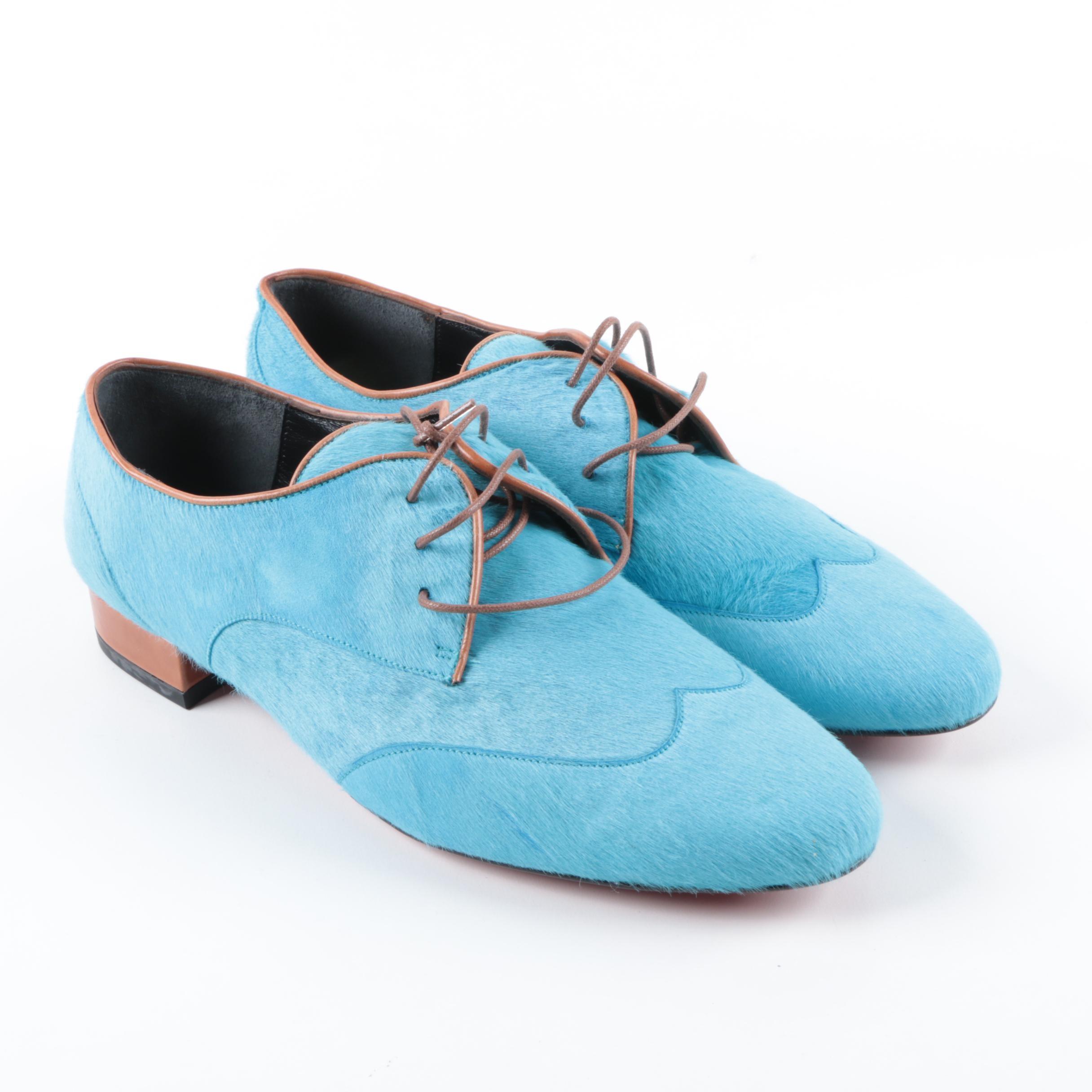Serena Whitehaven Aqua Blue Pony Hair Wingtip Shoes