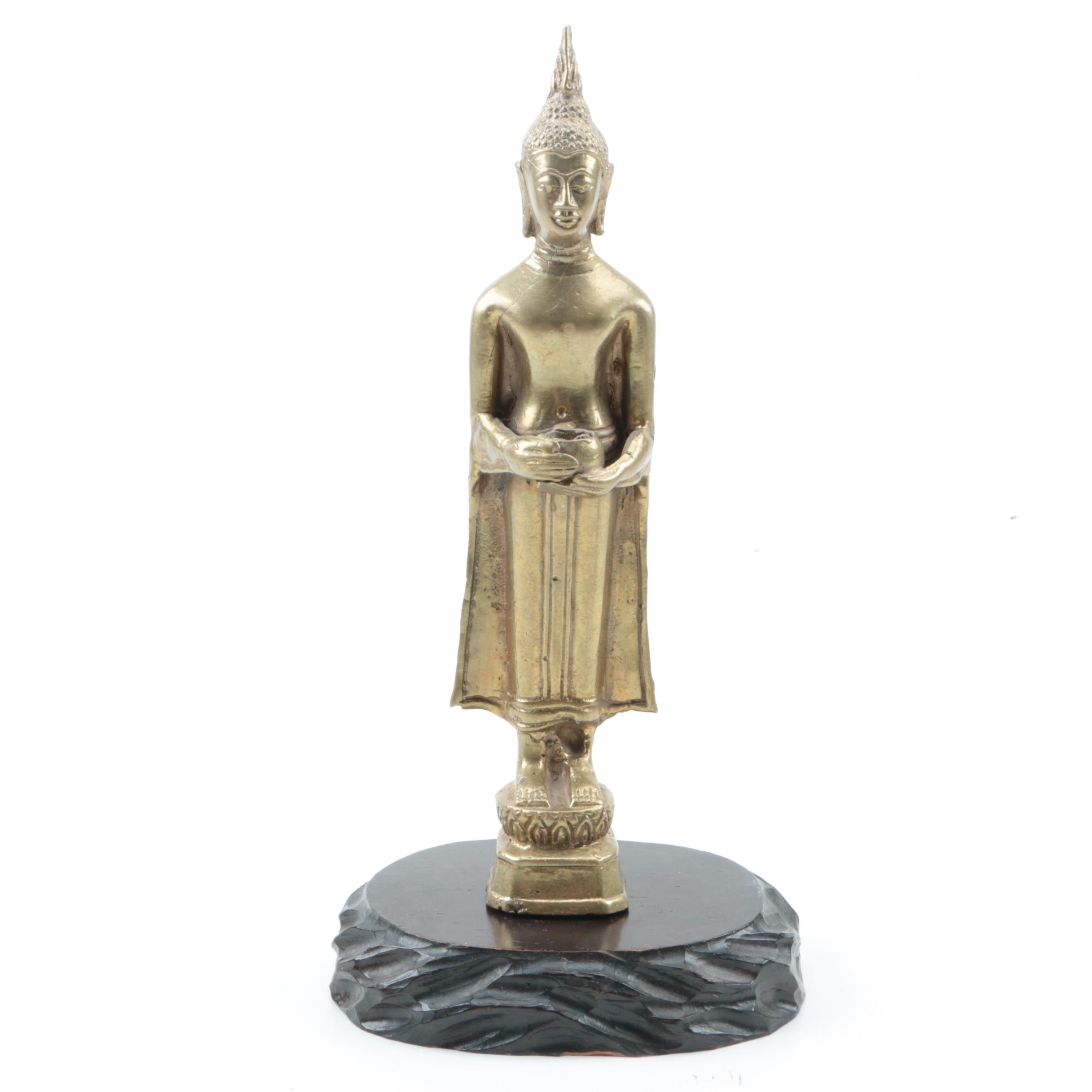 Thai Style Brass Buddha Figurine with Base