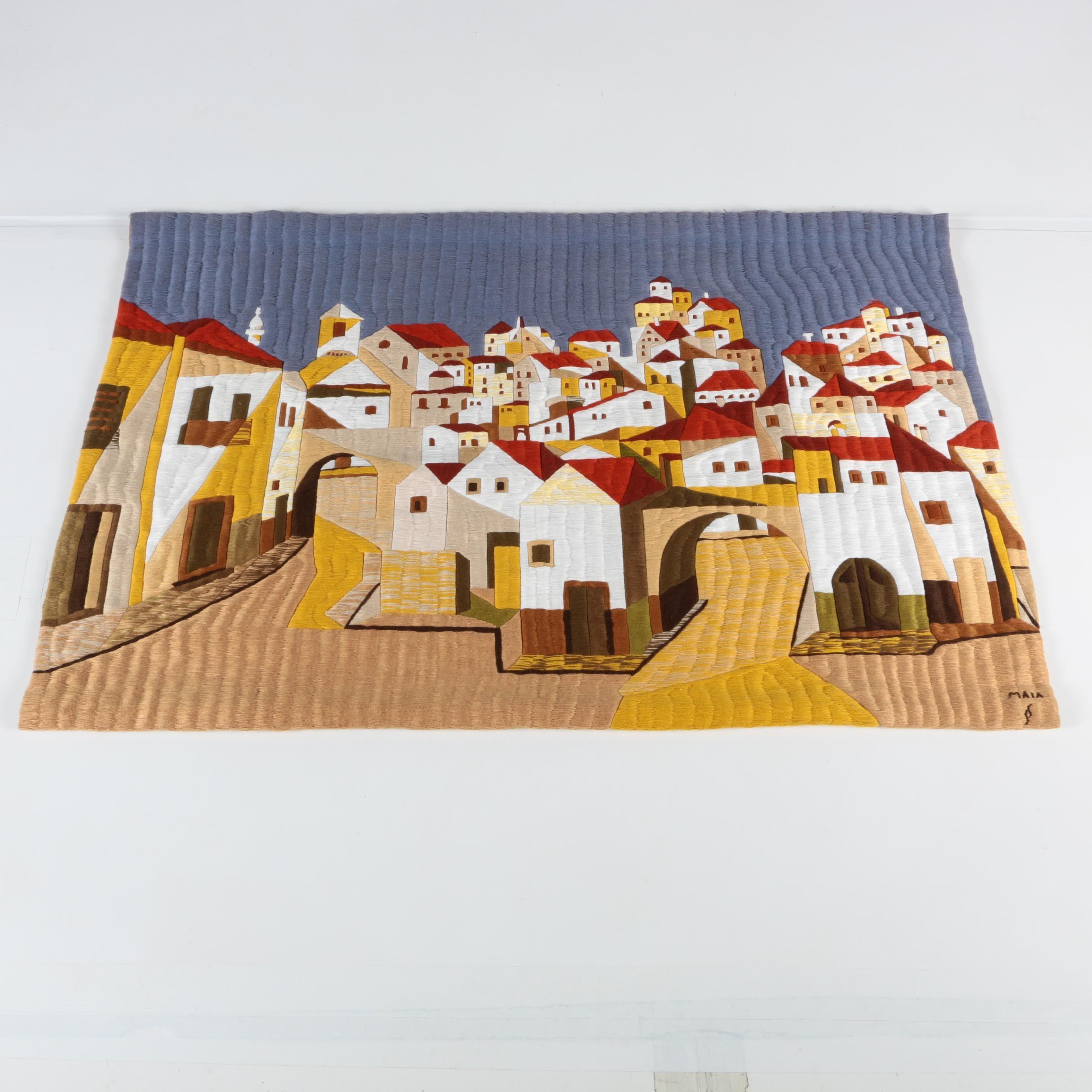 "Handmade Tapestry ""Casas Portuguesas No. 3"" by Abel Maia"