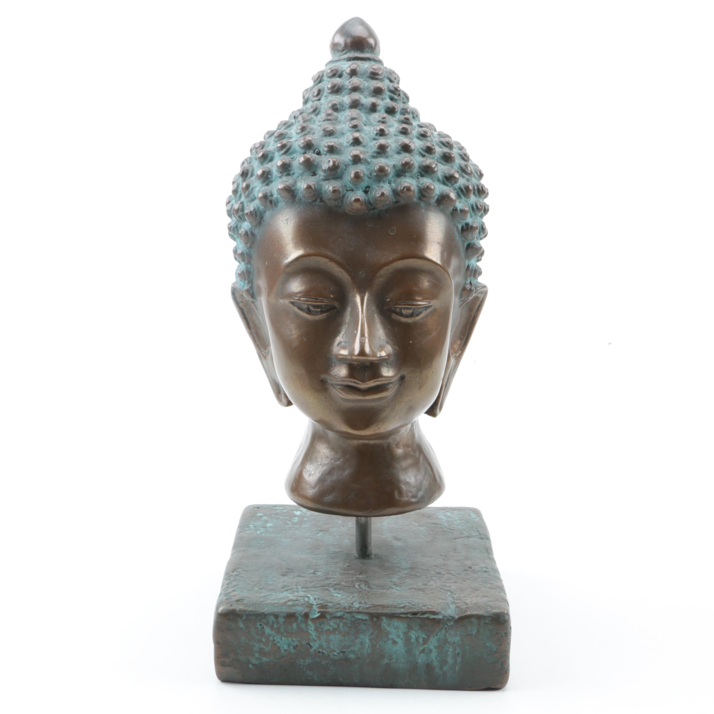 Metal Buddha Head Figurine