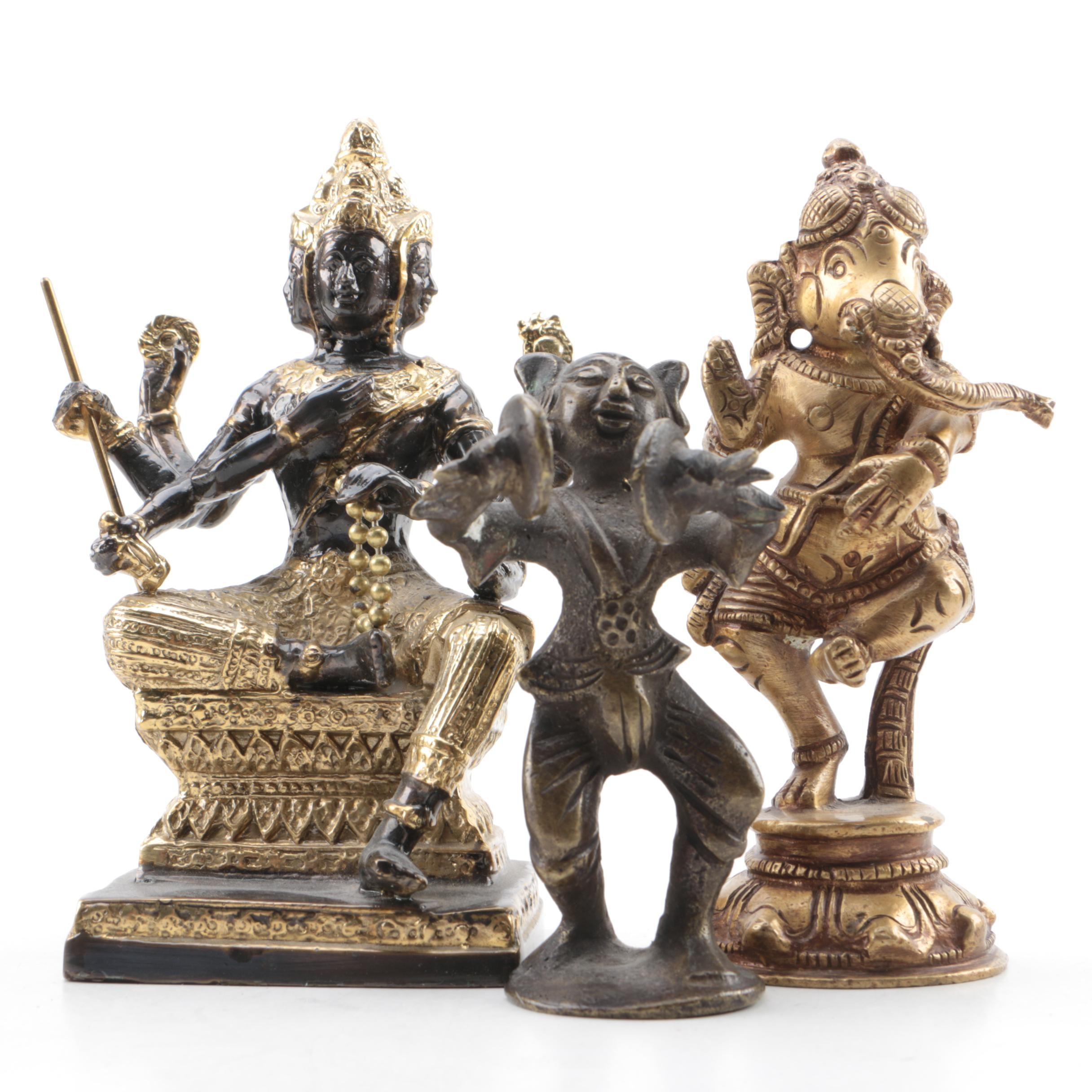 Bronze Tone Metal Figurines Featuring Ganesha
