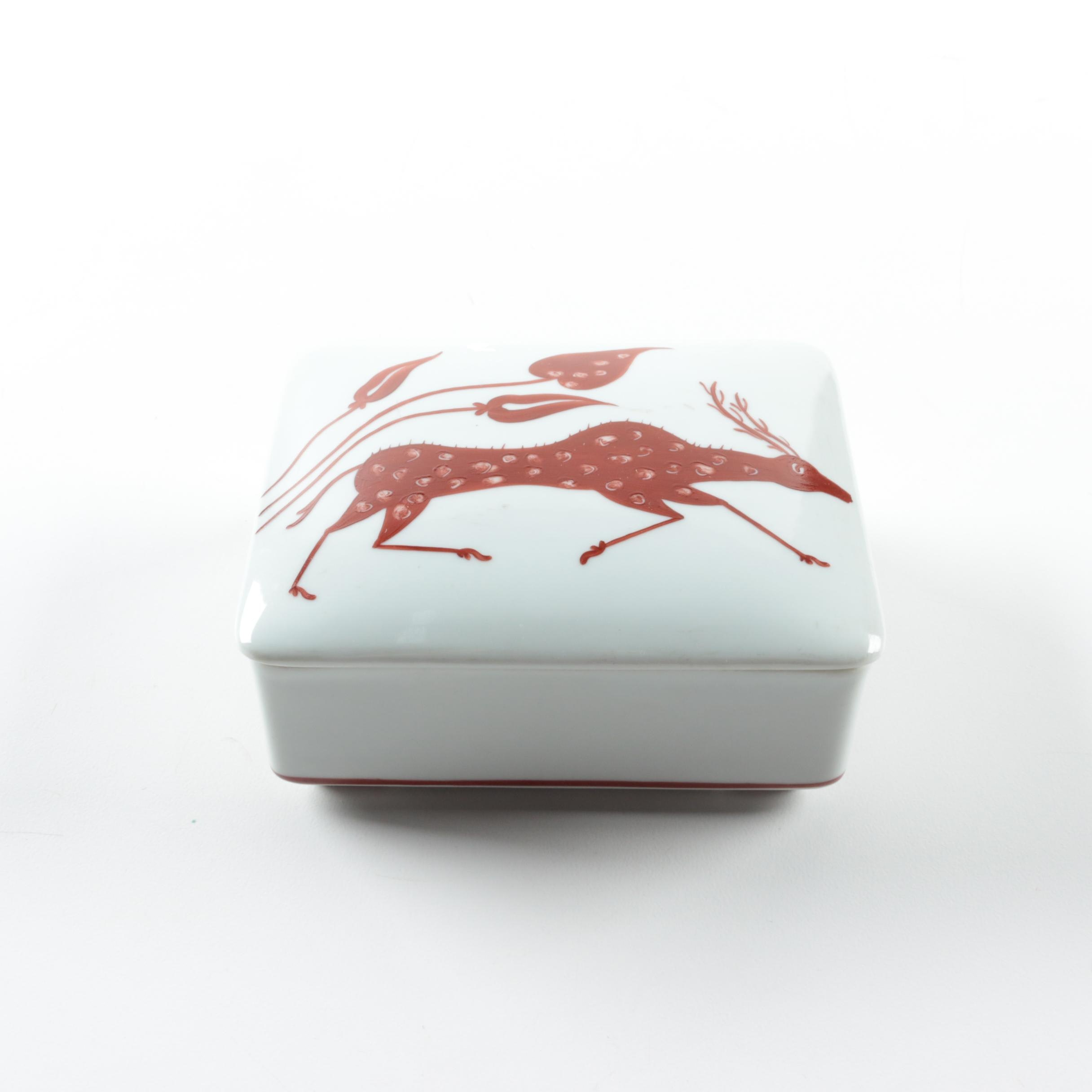 Hand-Painted Porcelain Trinket Box by Block Vista Alegre Portugal
