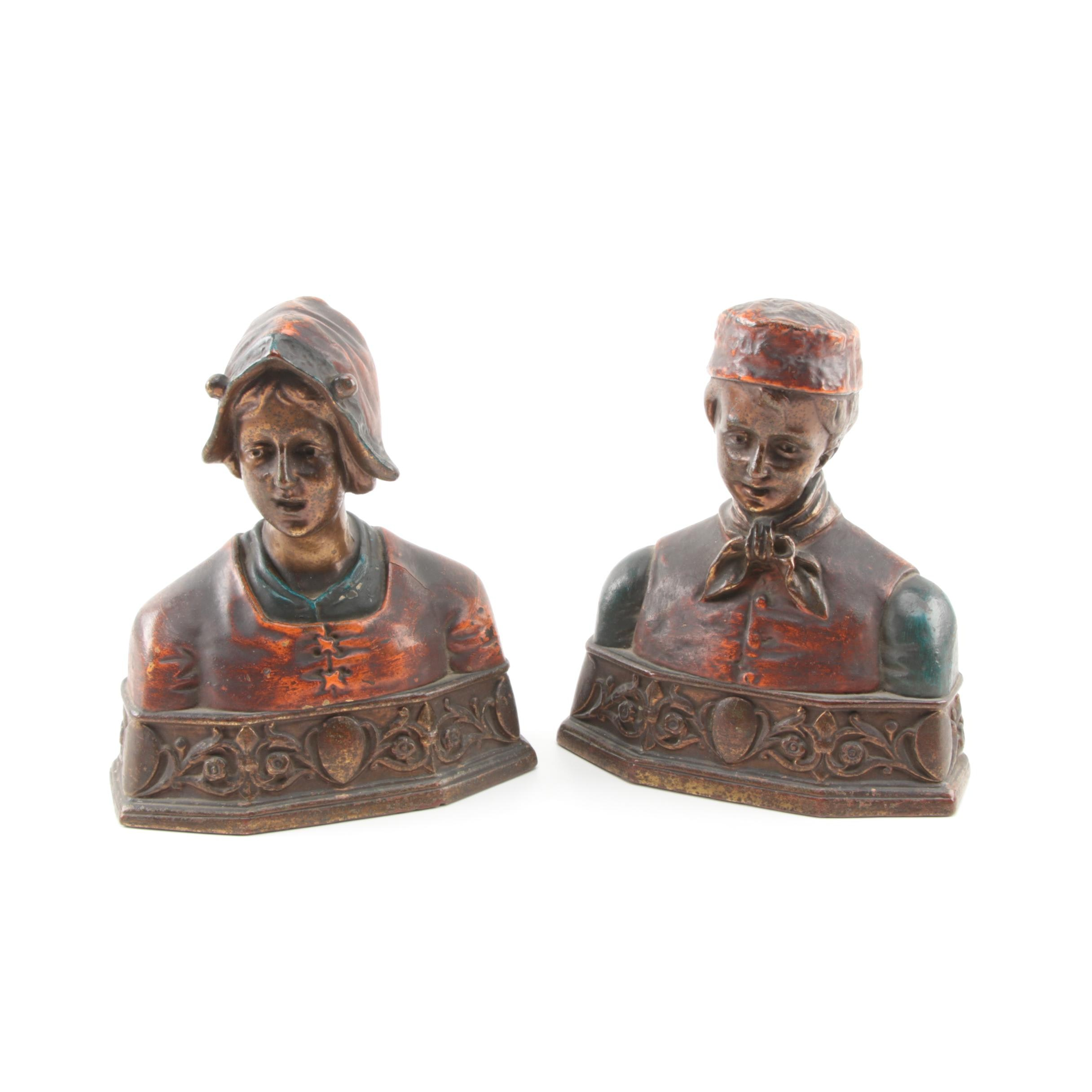Dutch Figural Bookends by Pompeian Bronze Co.