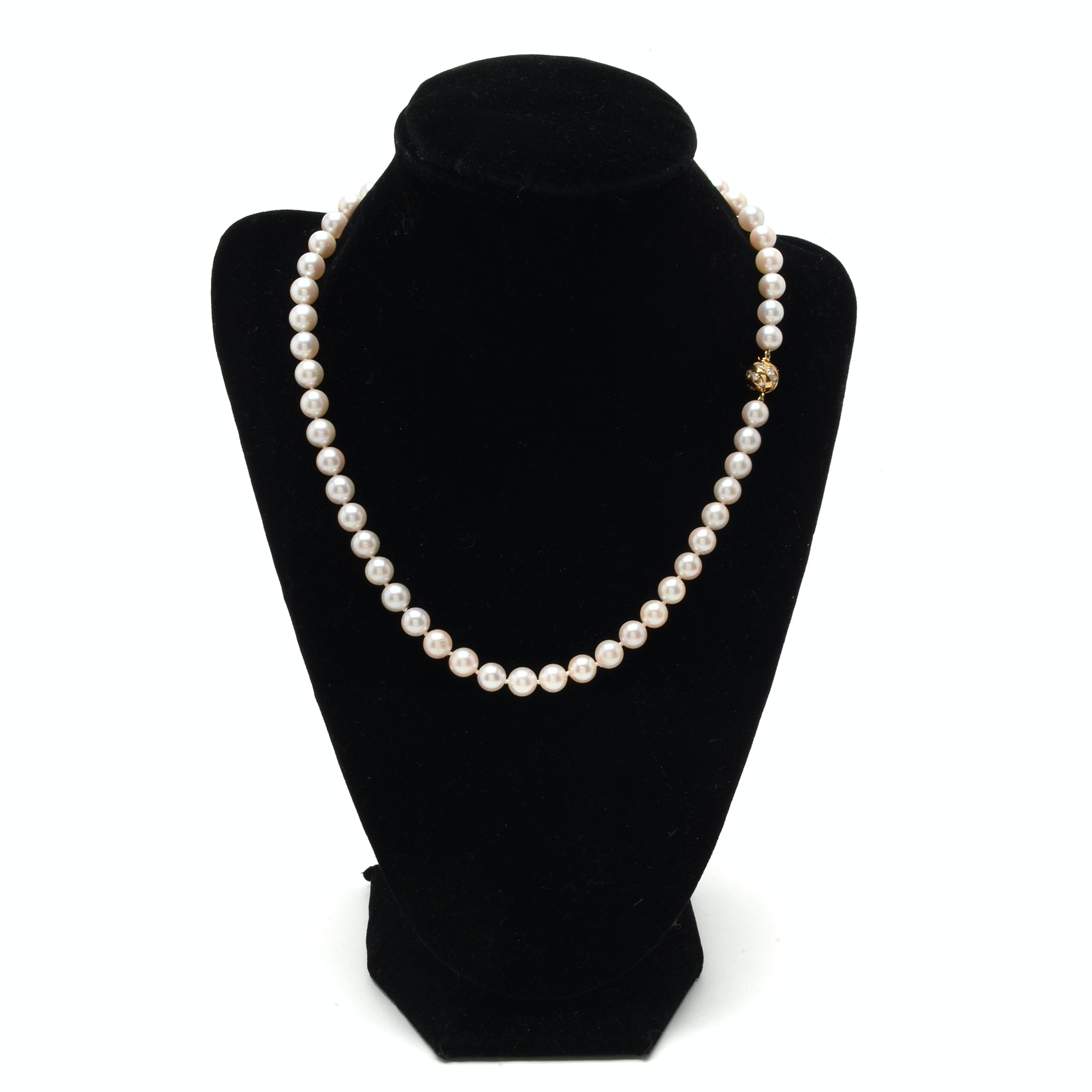 Strand of Cultured Pearls with 18K Yellow Gold Diamond Clasp Necklace