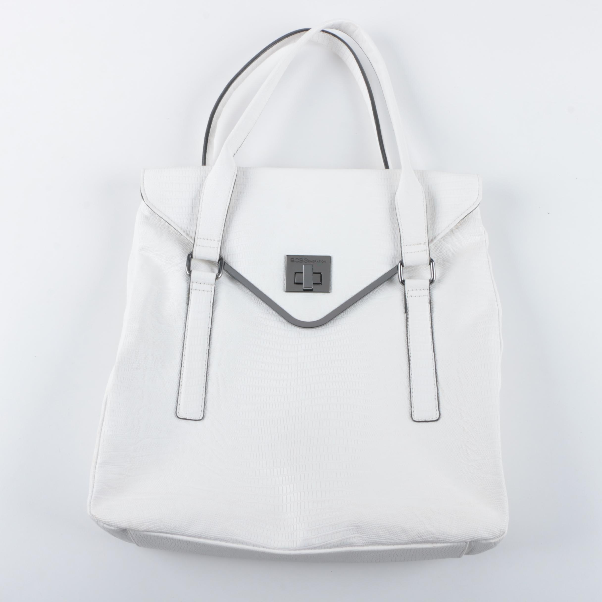BCBGeneration White Embossed Faux Leather Handbag