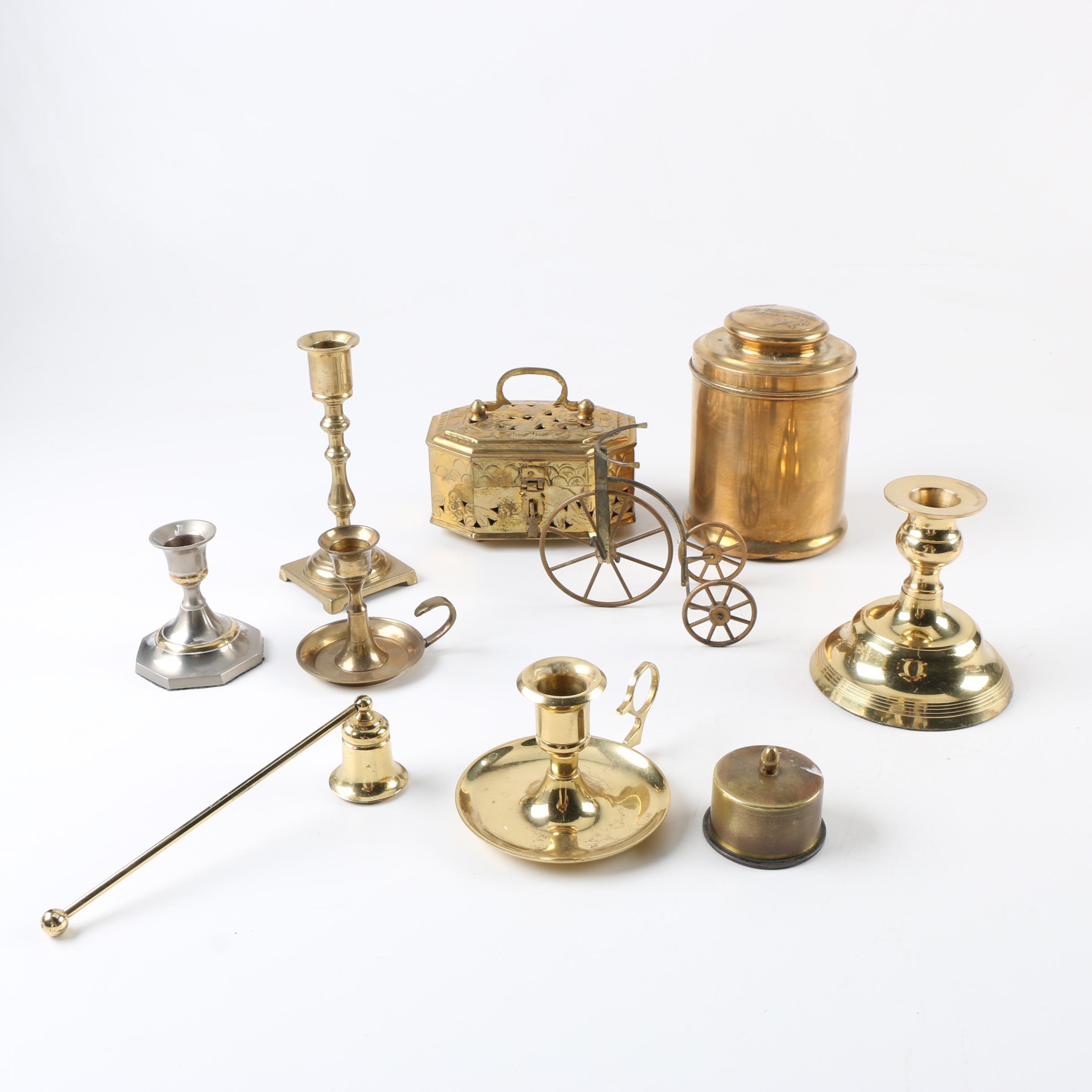 Brass Candlesticks and Decor