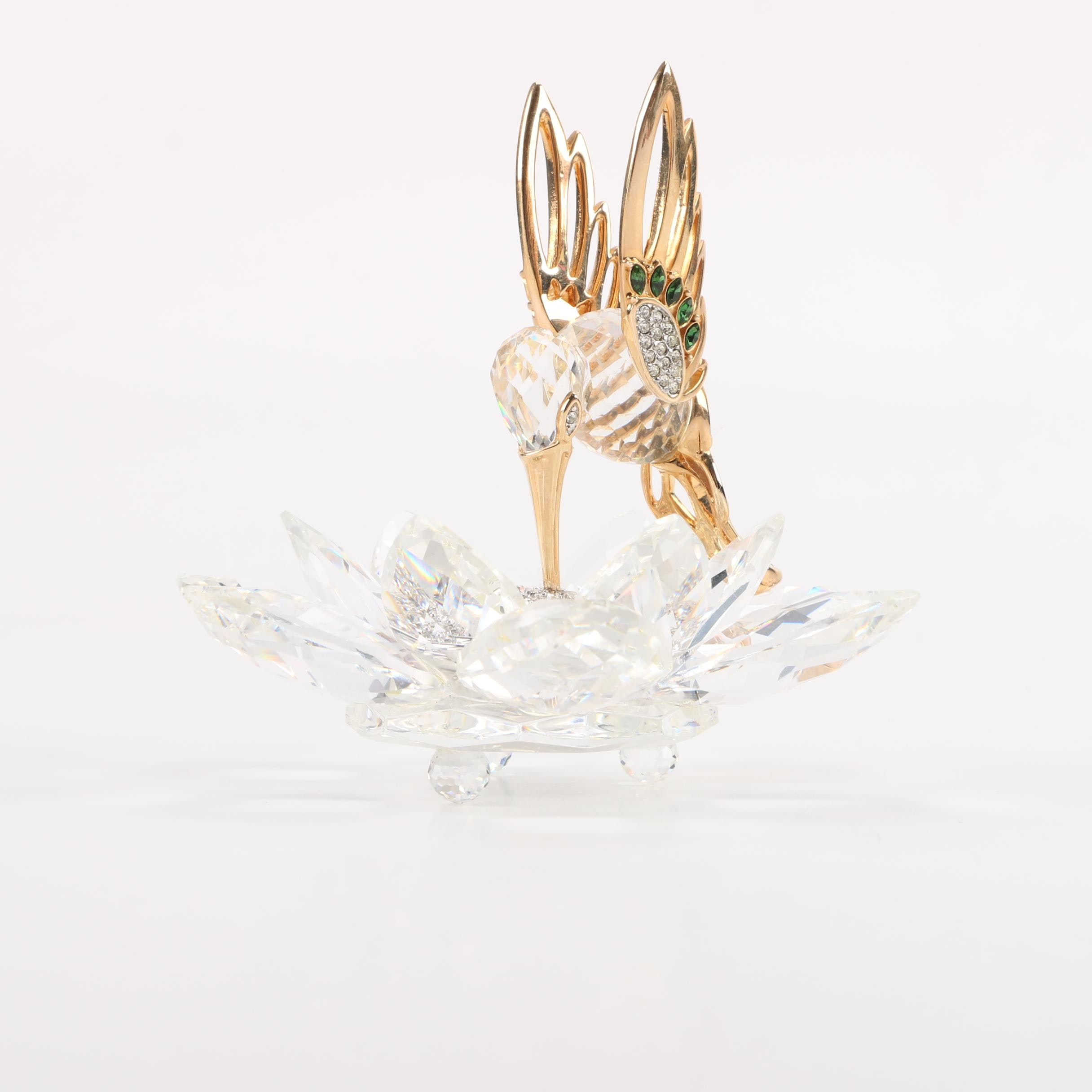 Swarovski Hummingbird and Flower Figurine