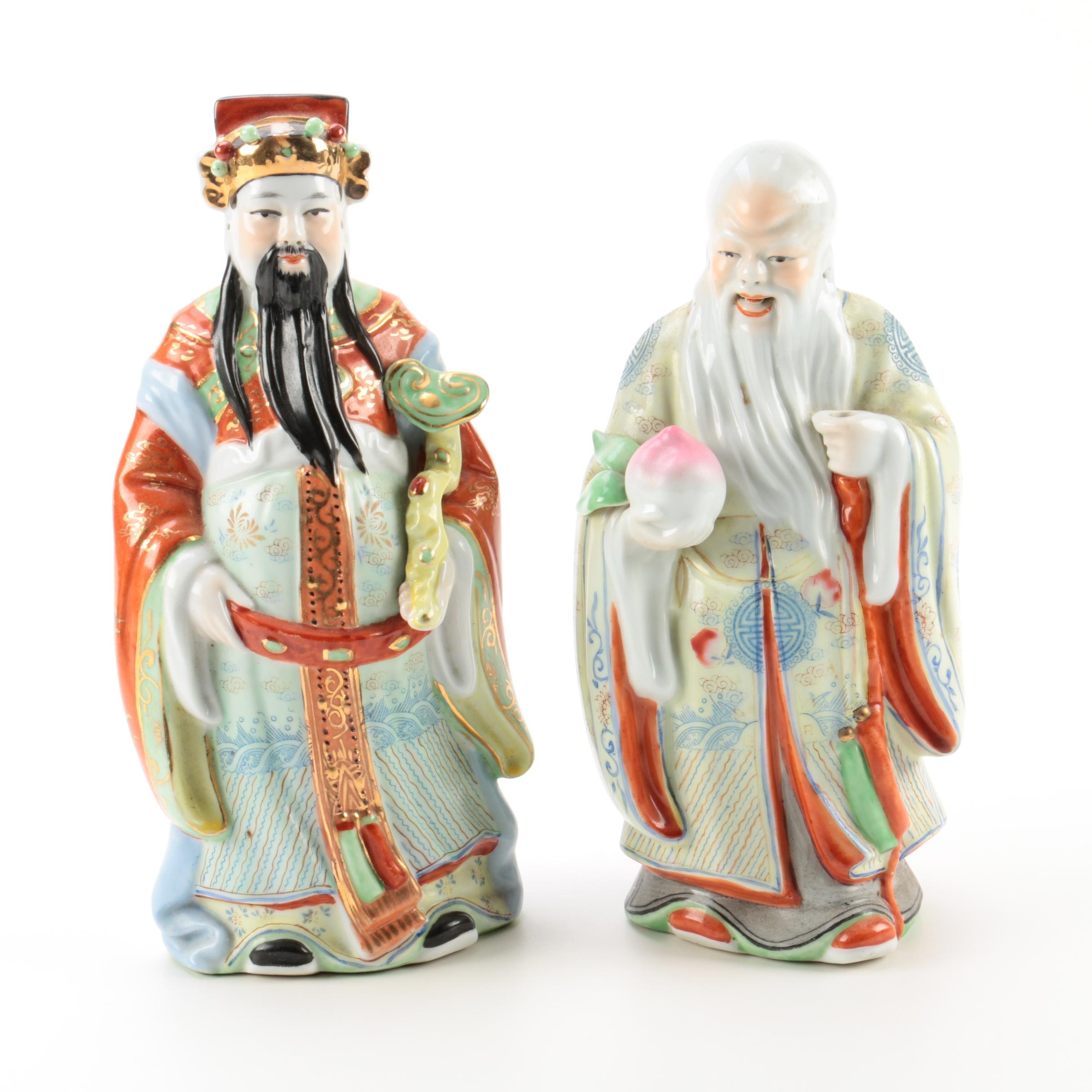 "Chinese Sanxing Dieties The ""God of Longevity"" and ""Wealth"" Porcelain Figurines"