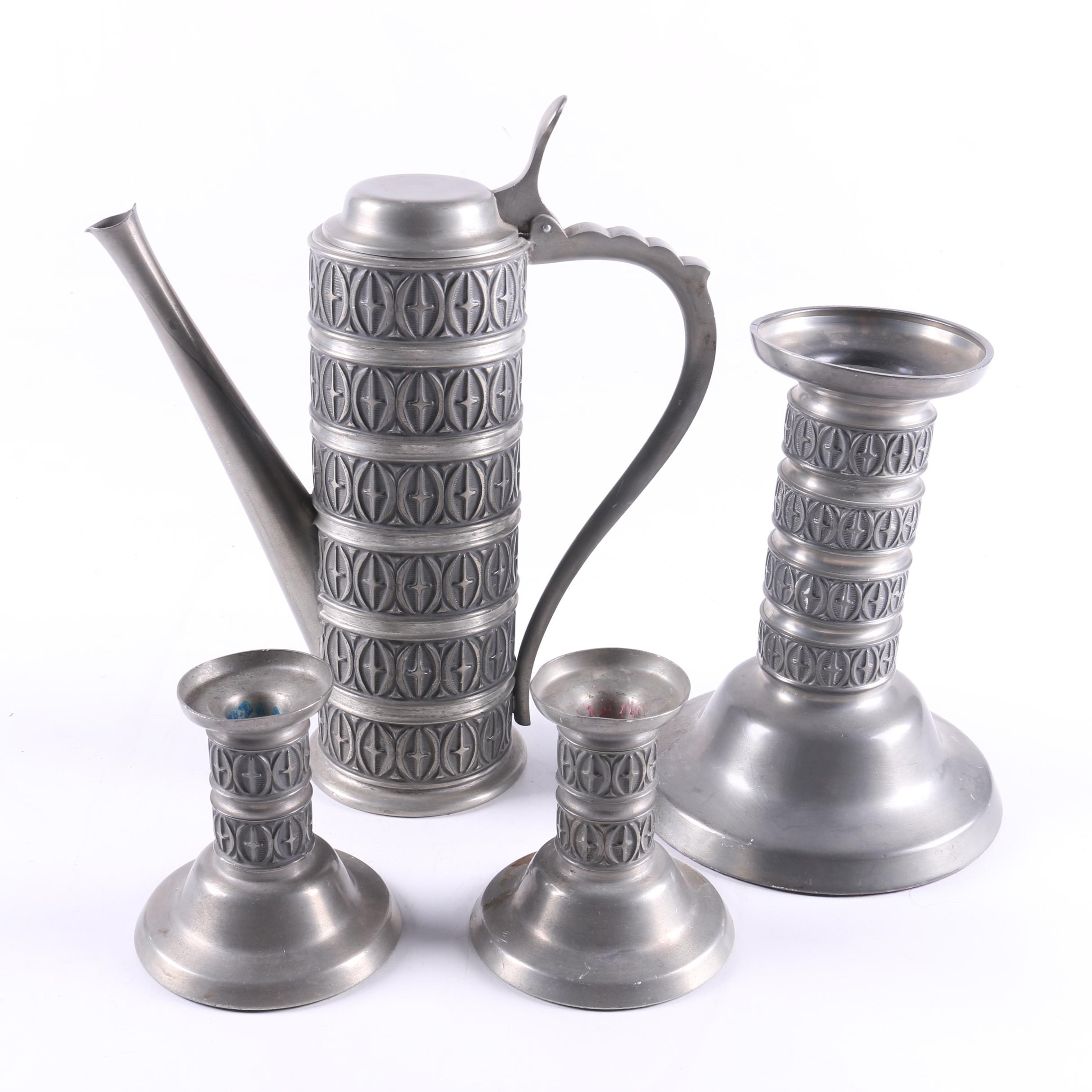 Mid-Century Pewter Candle Holders and Pitcher by Haugrud Norway