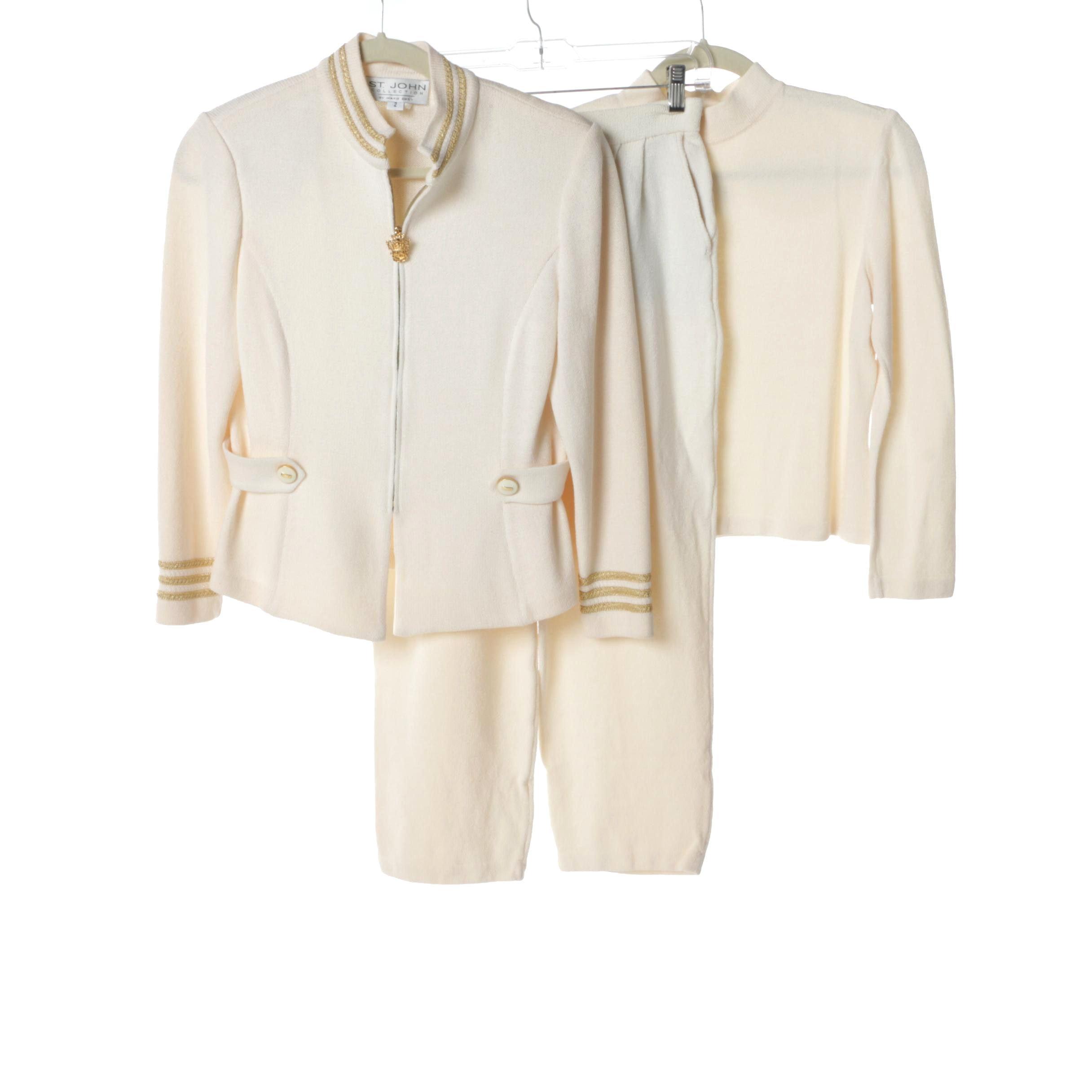 Women's St. John Collection Cream Knit Pantsuit and Turtleneck
