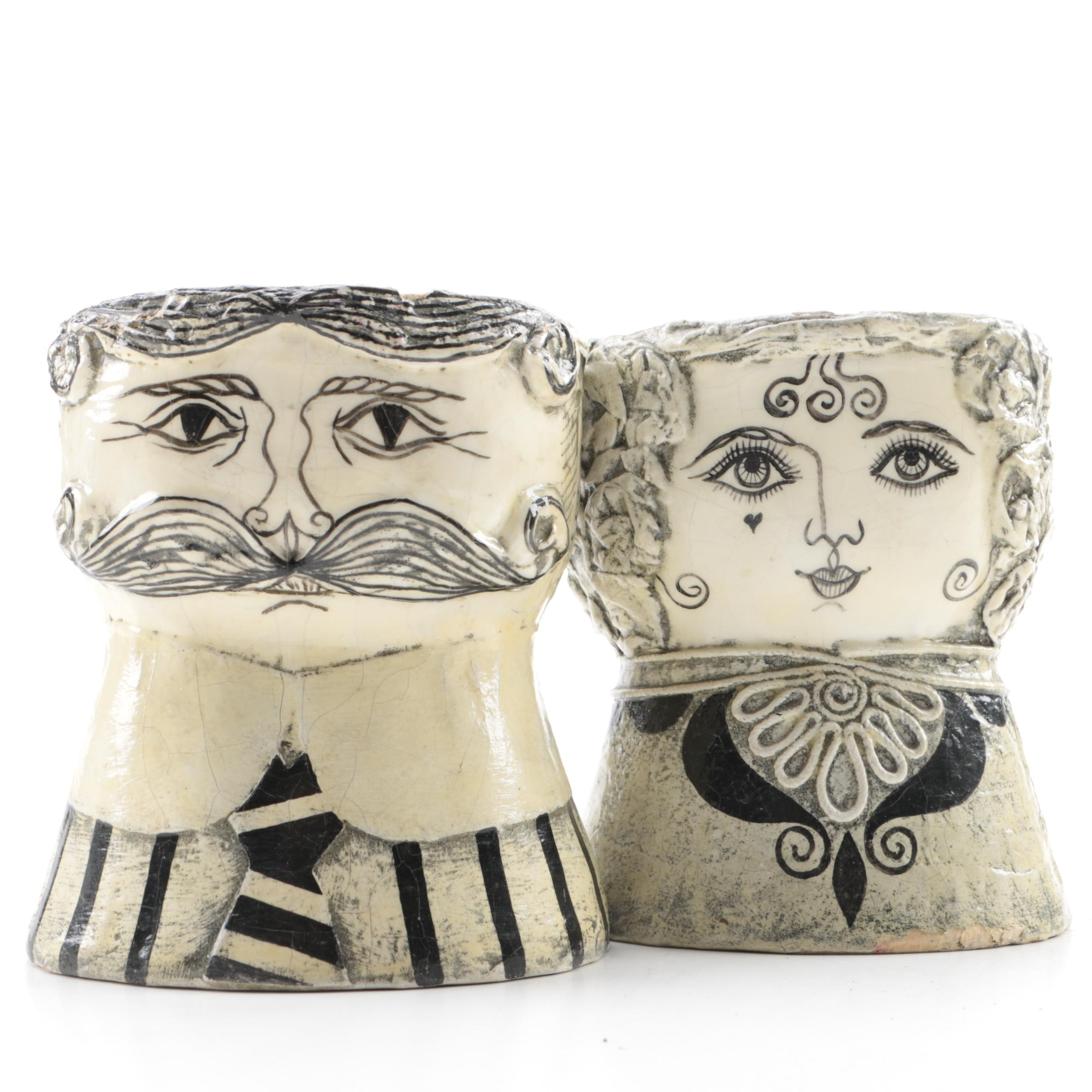 Folk Art Man and Woman Papier Mache Vases by Gemma Taccogna