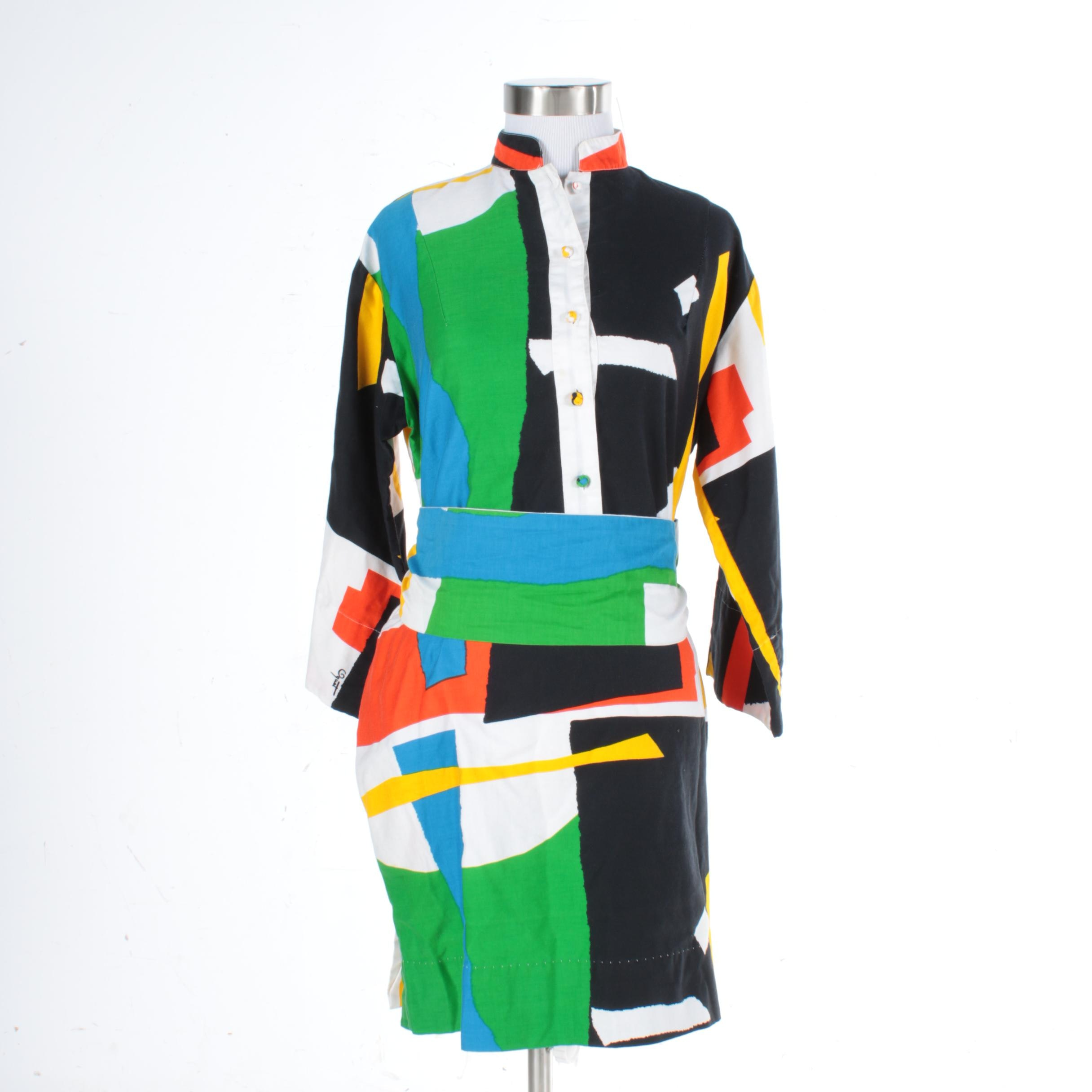 1970s Vintage Catherine Ogust Multicolor Color Block Cotton Dress