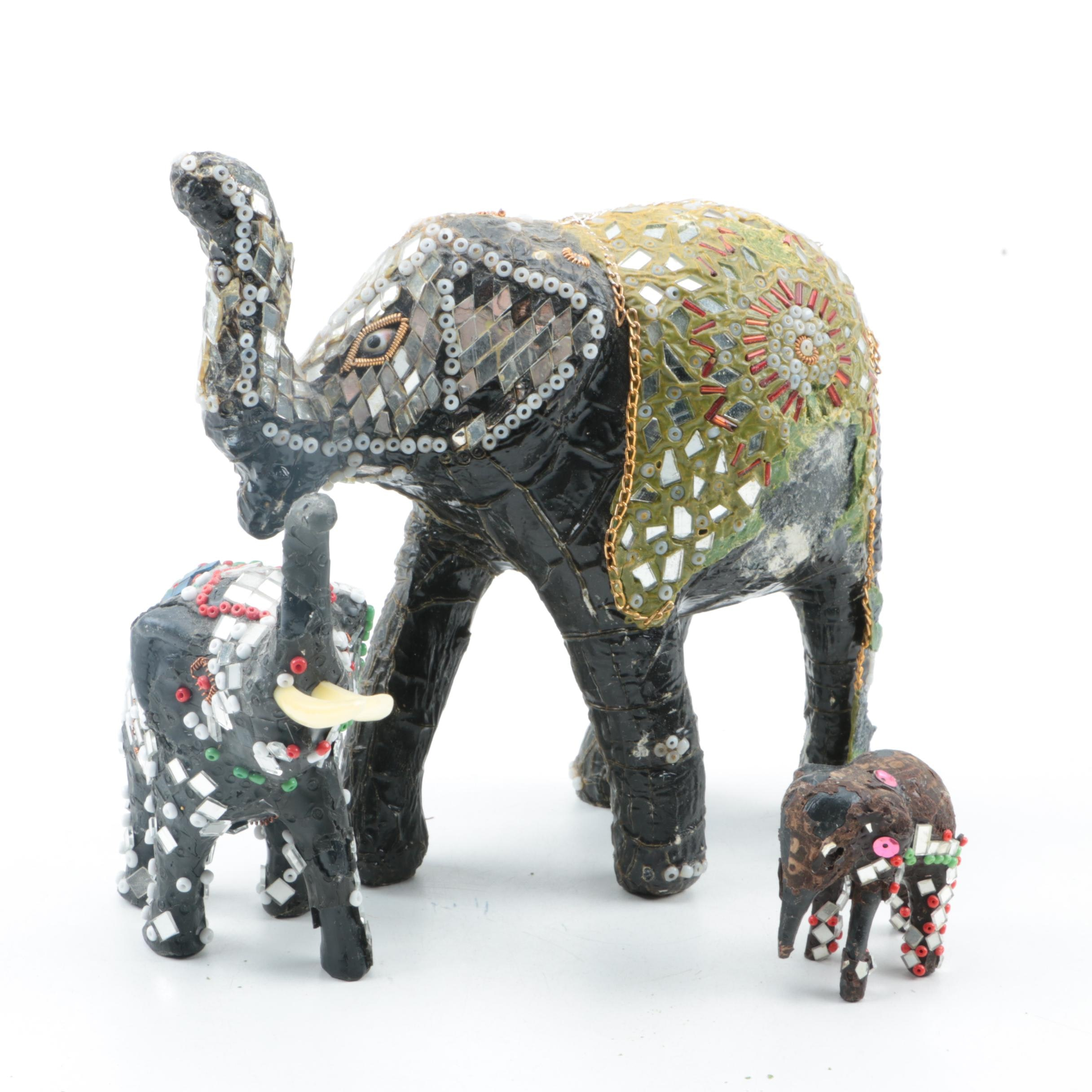 Indian Elephant Figurines in Decorative Costumes
