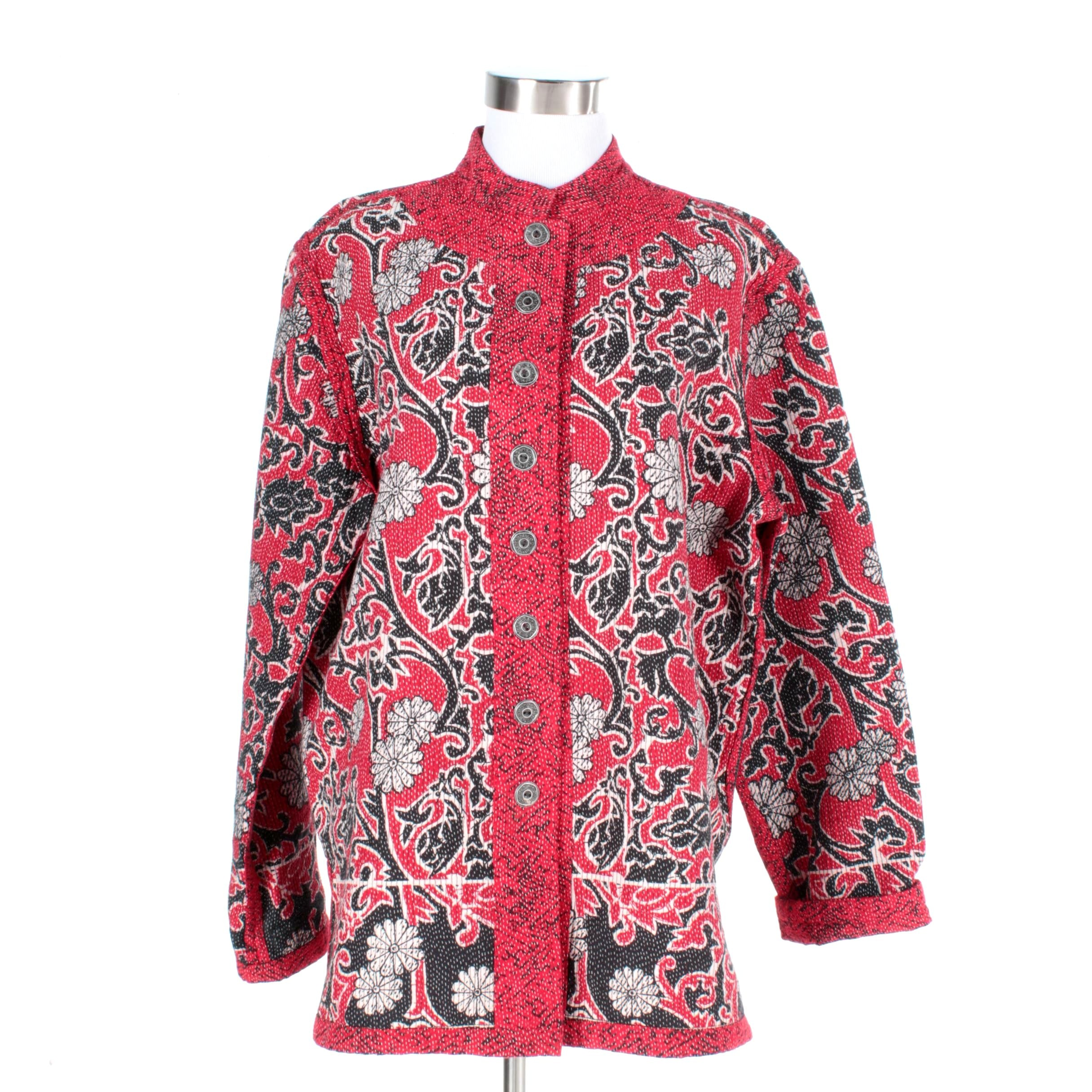 Women's Quilted Jacket in Scrolling Florals