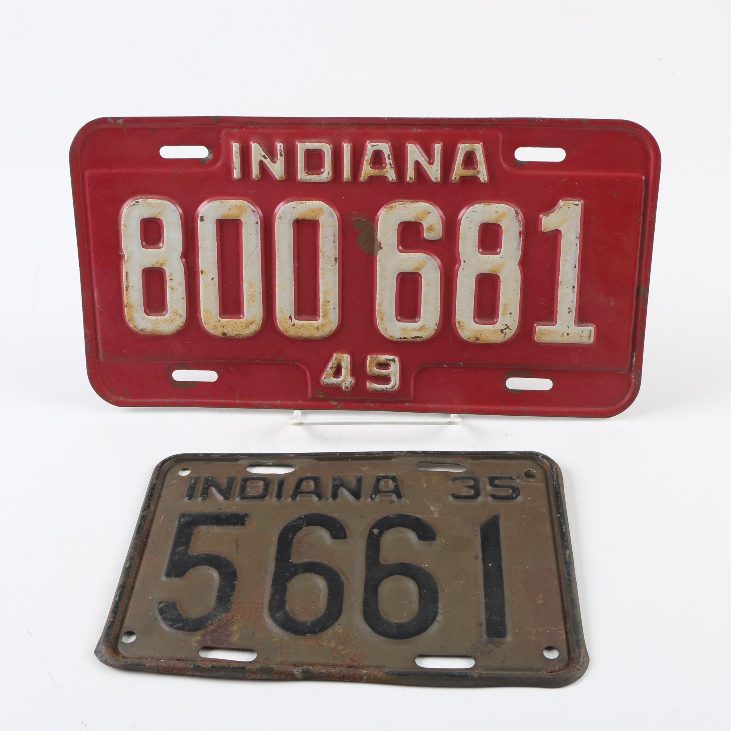 1935 and 1949 Indiana License Plates
