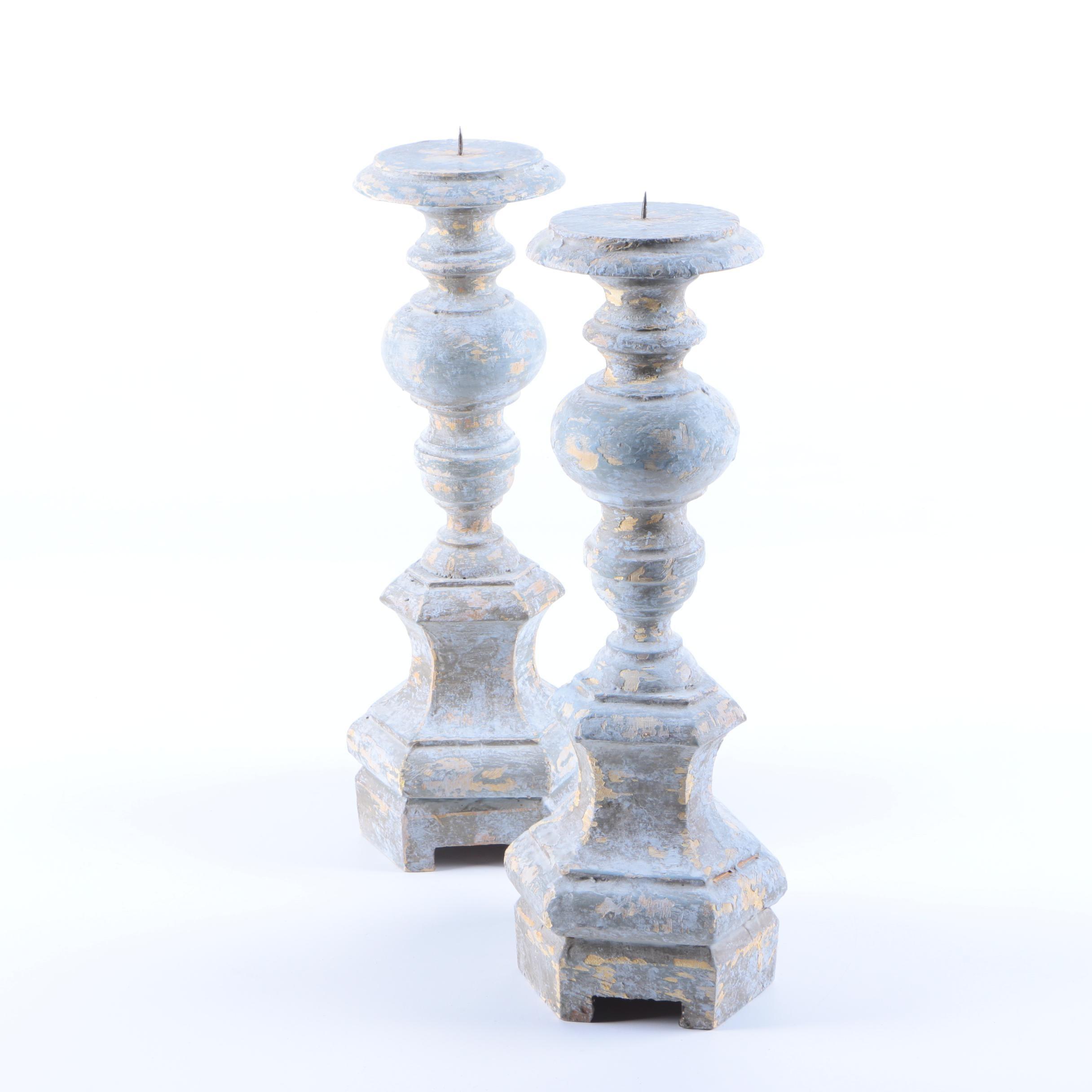 Whitewashed Wood Candlesticks