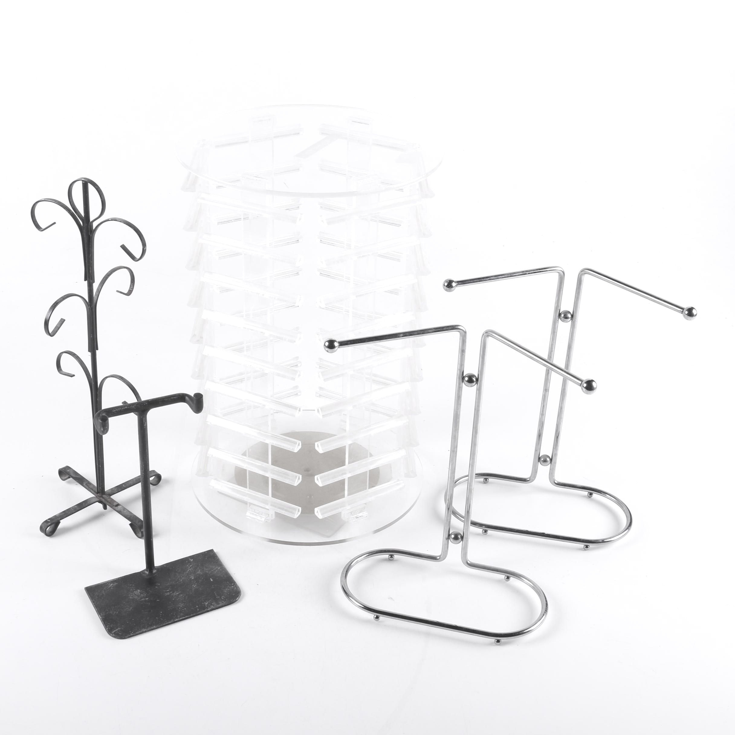 Selection of Metal and Plastic Jewelry Stands