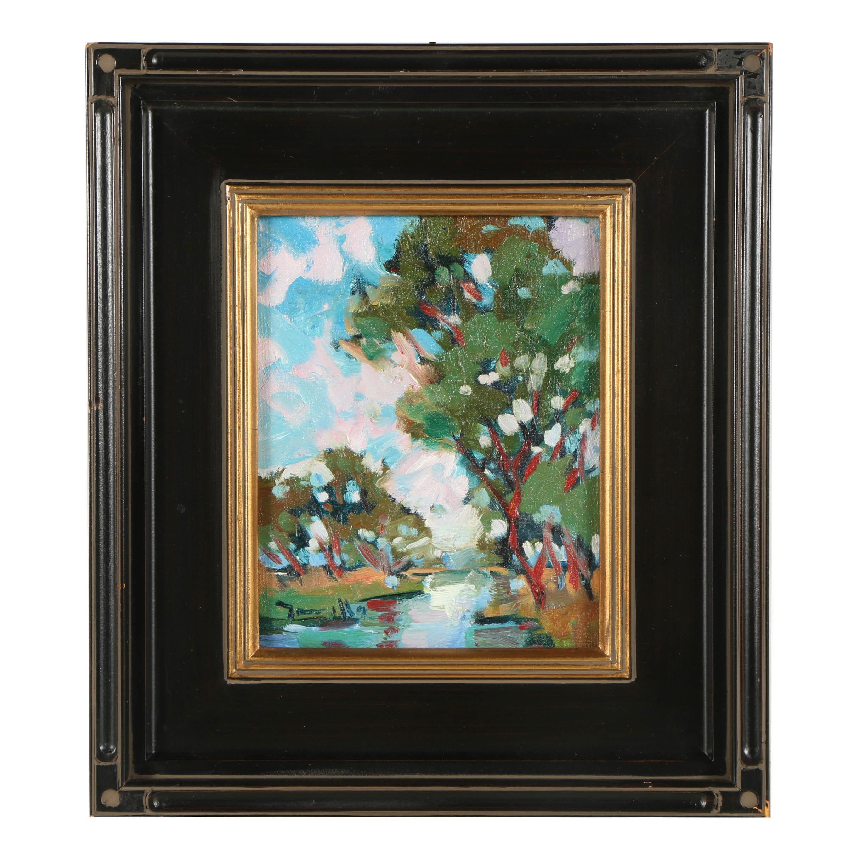 "2015 Jose Trujillo Oil Painting ""Near the River"""