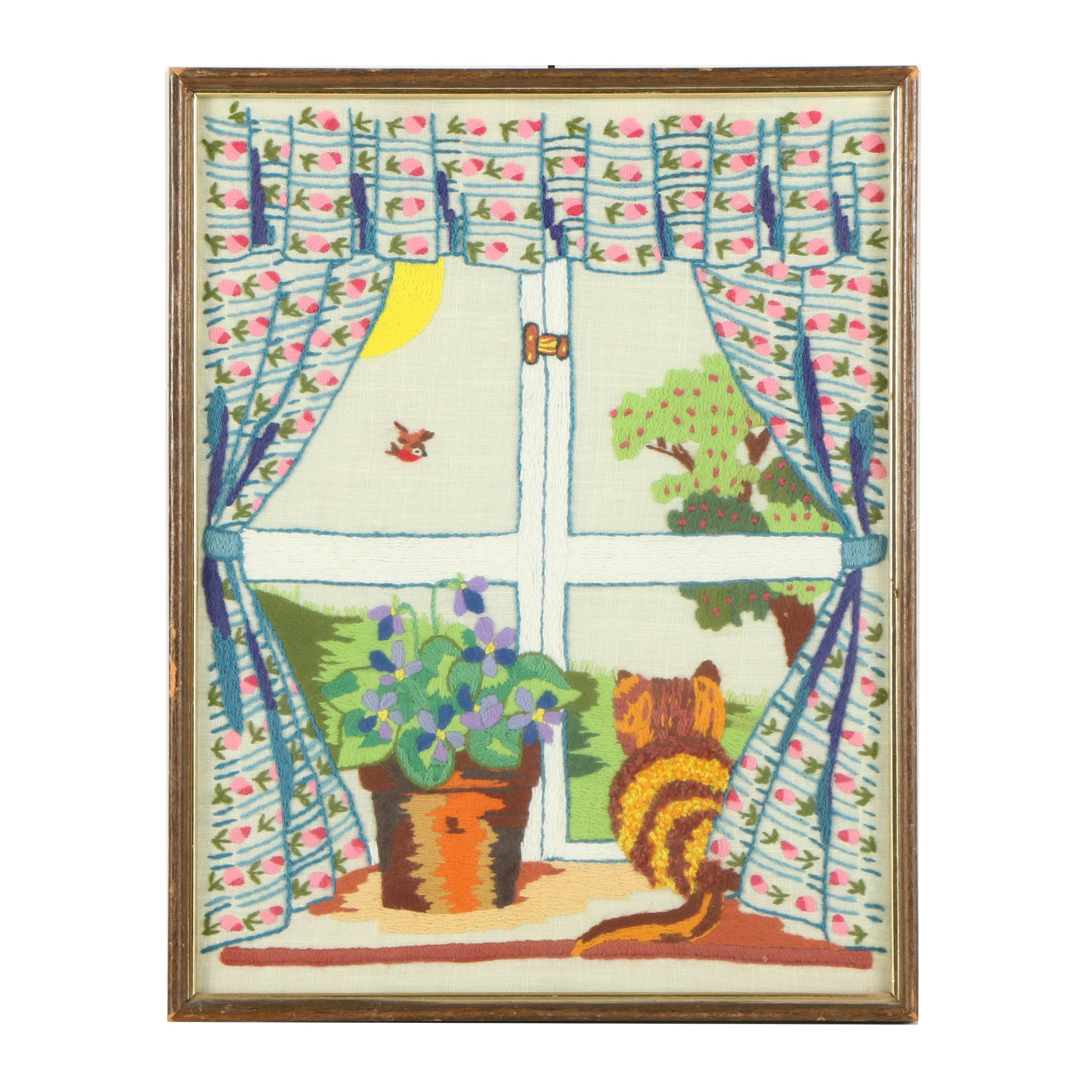 Embroidered Textile of a Cat by a Window