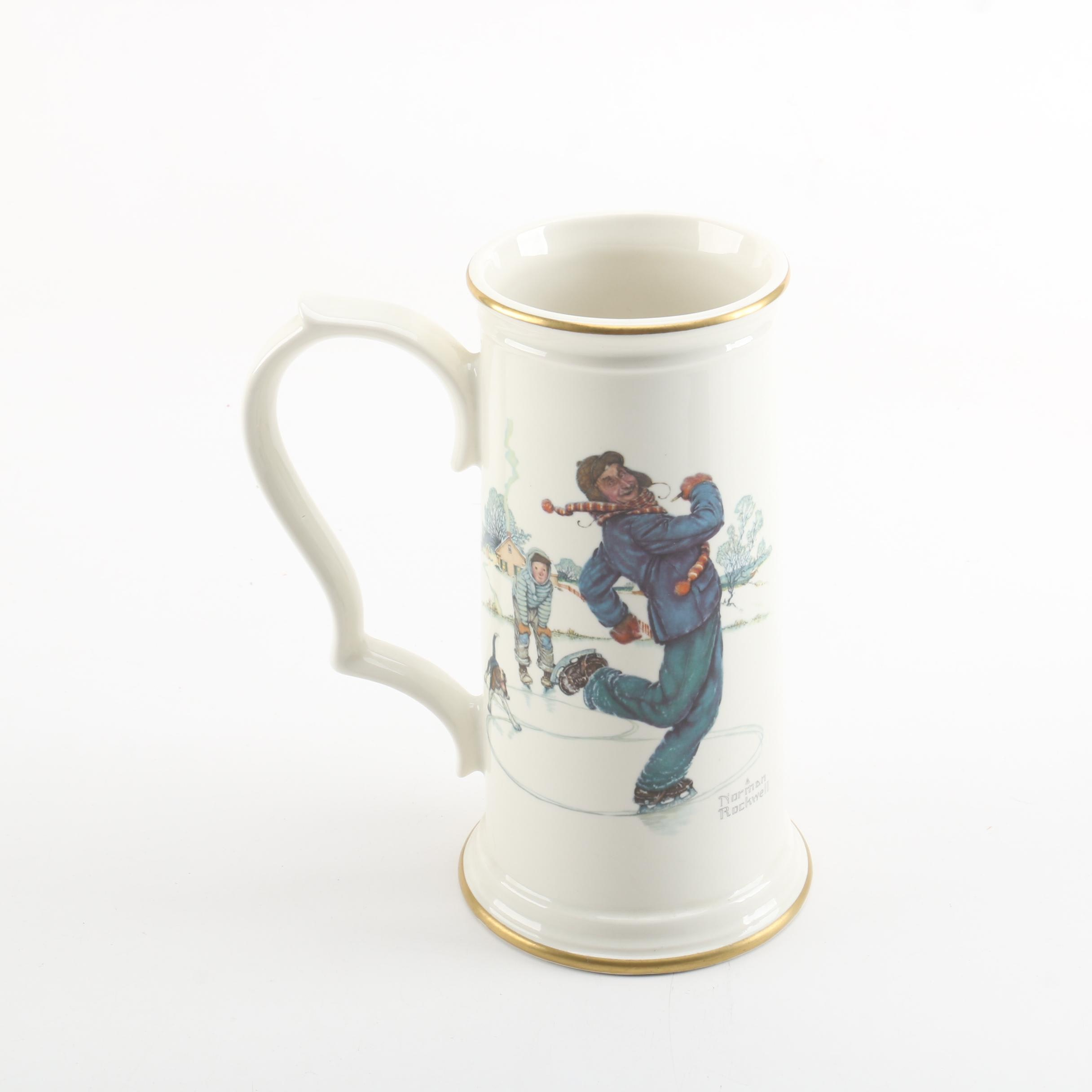 "Norman Rockwell ""Gay Blades"" Porcelain Collector's Stein by Gorham"