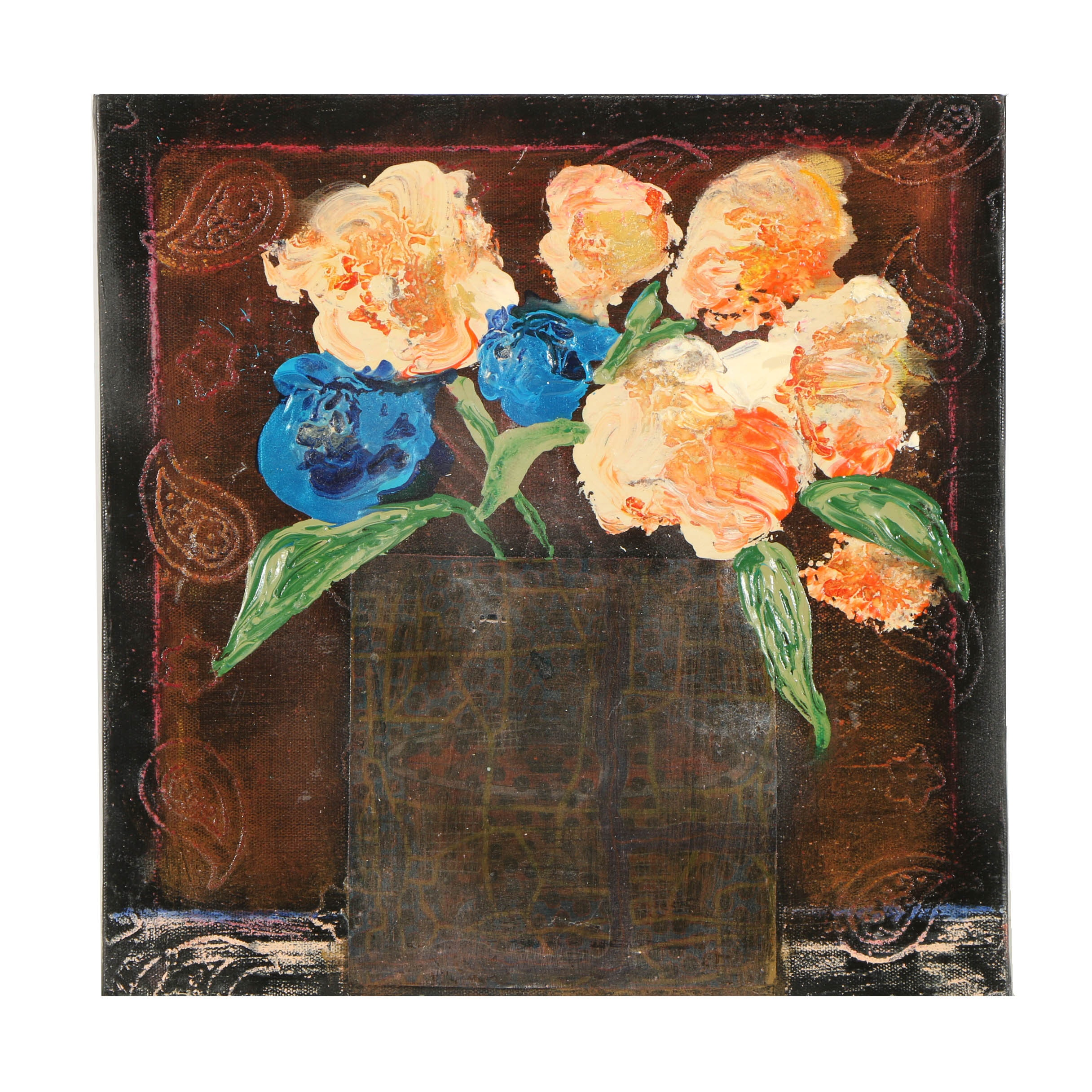 Mixed Media Painting of Floral Still Life
