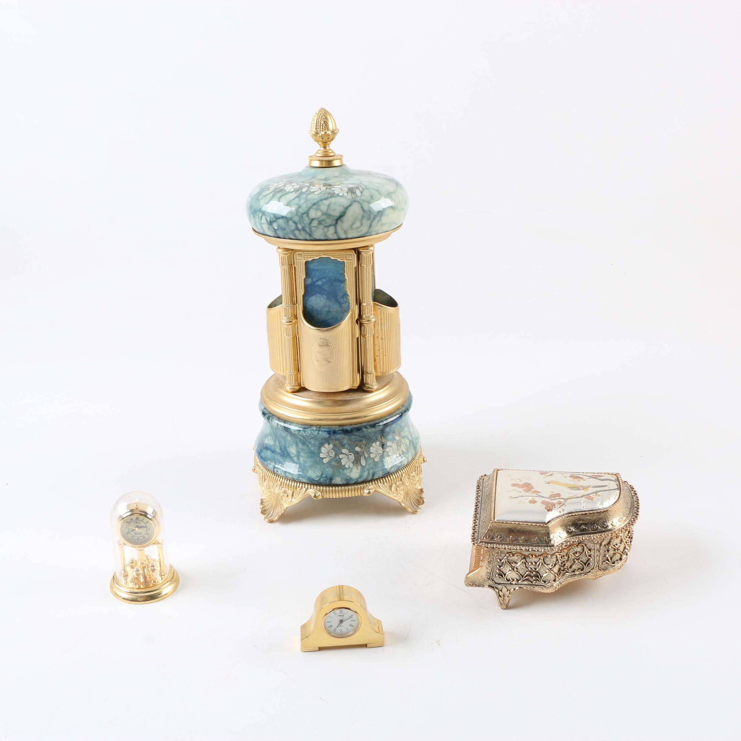 Musical Lipstick Holder, Trinket Box and Clocks