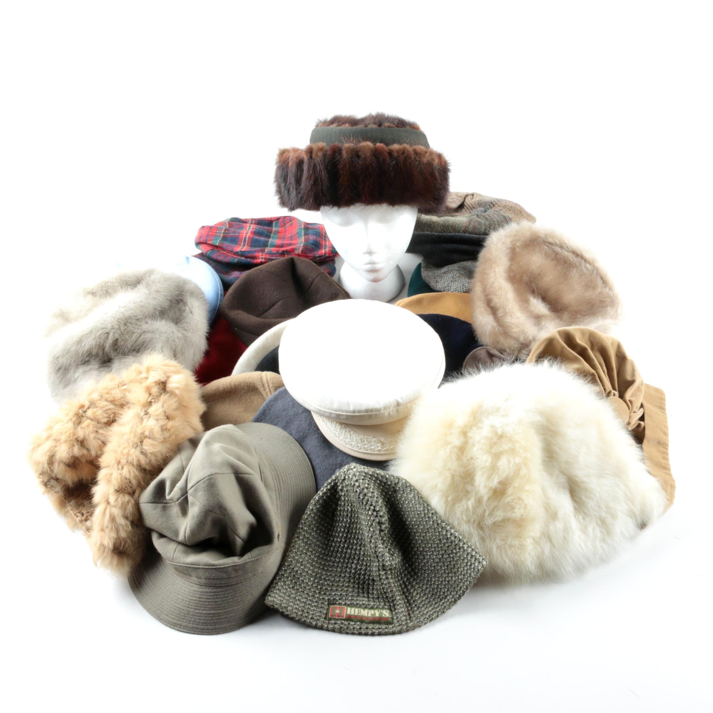 Thirty Hats Including Adrienne Landau Fur and Pendelton Wool