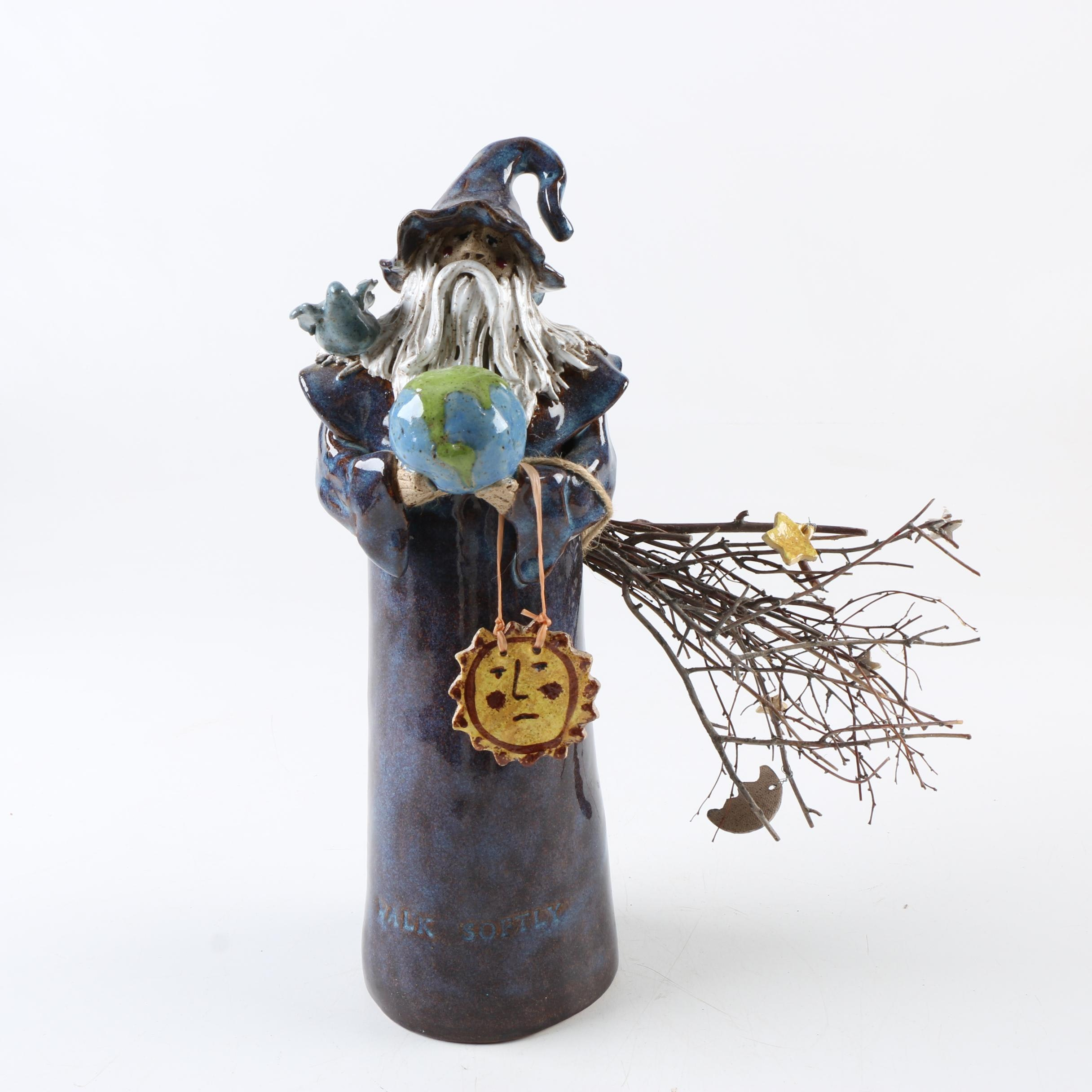 "Handbuilt Stoneware ""Walk Softly"" Wizard Figure"