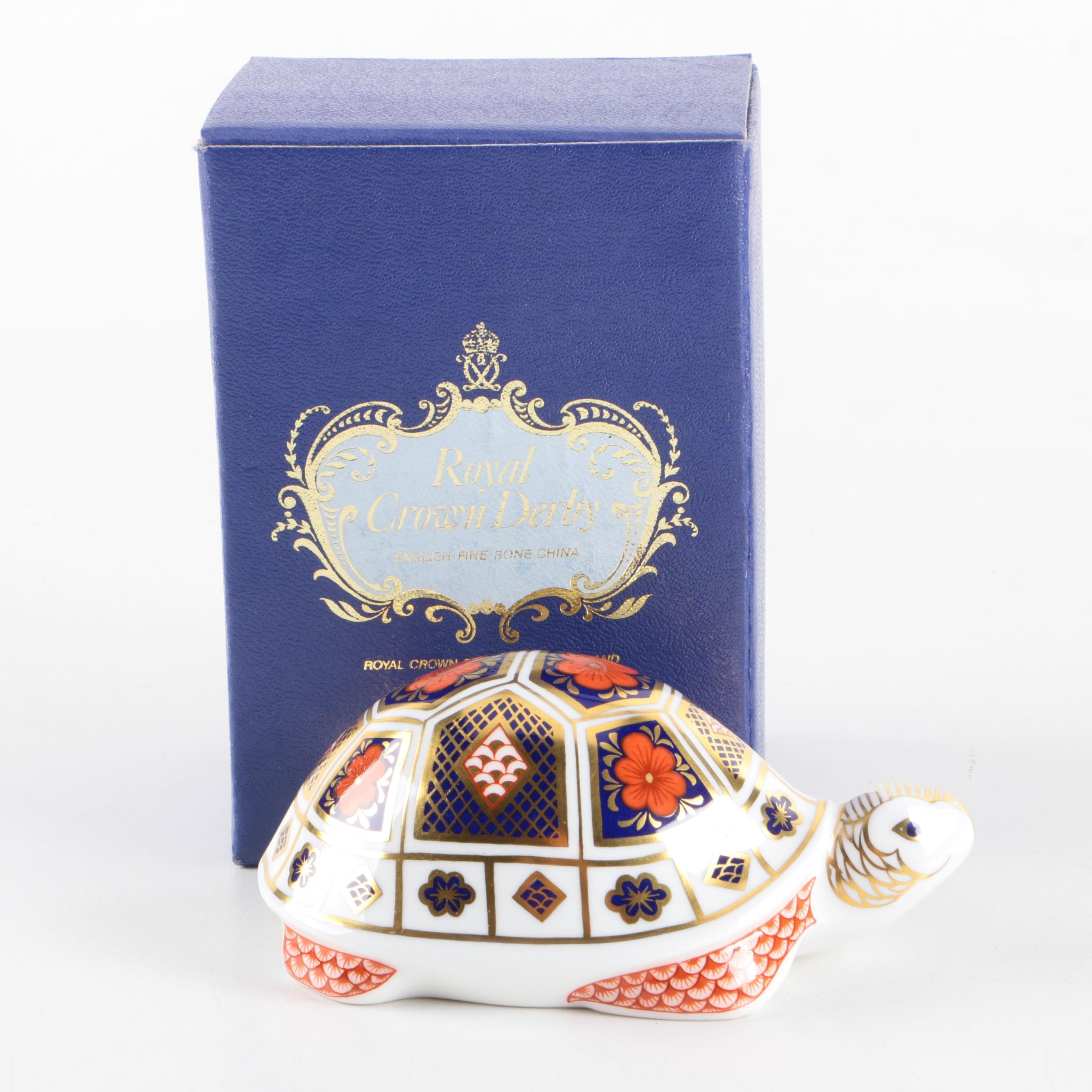 "Royal Crown Derby Imari ""Turtle"" Porcelain Paperweight"