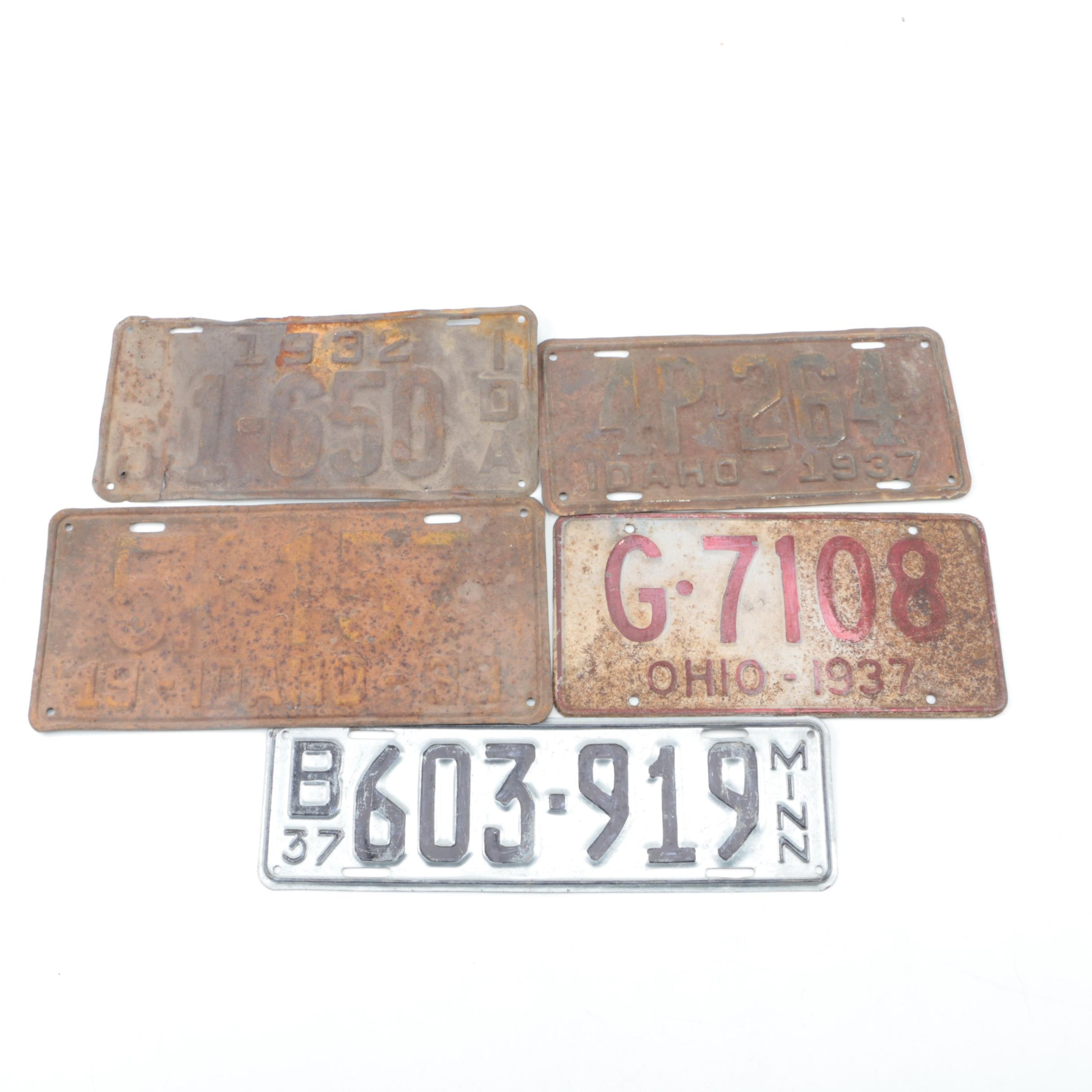 Vintage Idaho, Ohio, and Minnesota License Plates