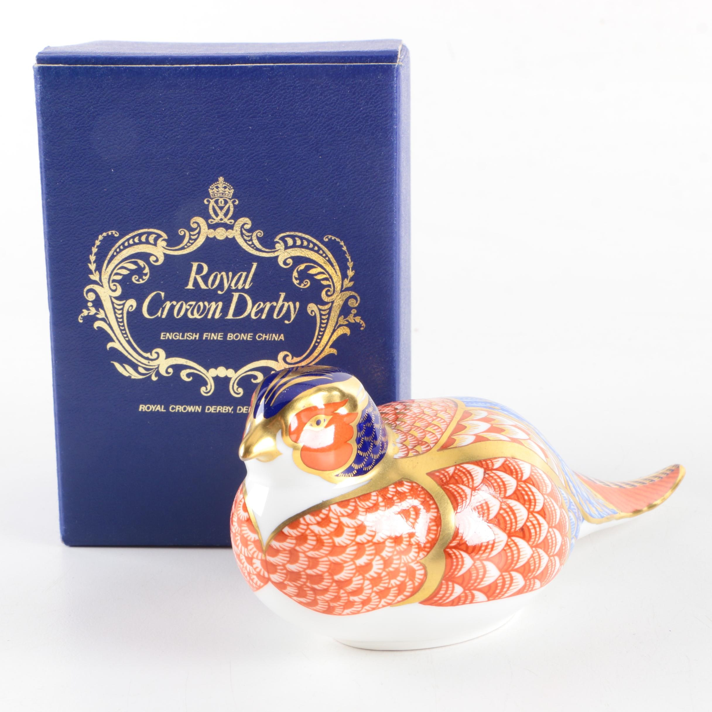 "Royal Crown Derby ""Pheasant"" Porcelain Paperweight"