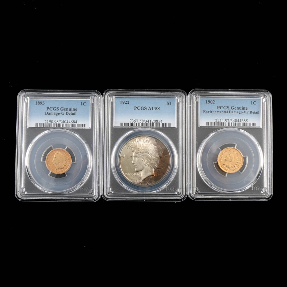 PCGS Graded Peace Silver Dollar and Two PCGS Graded Indian Head Cents