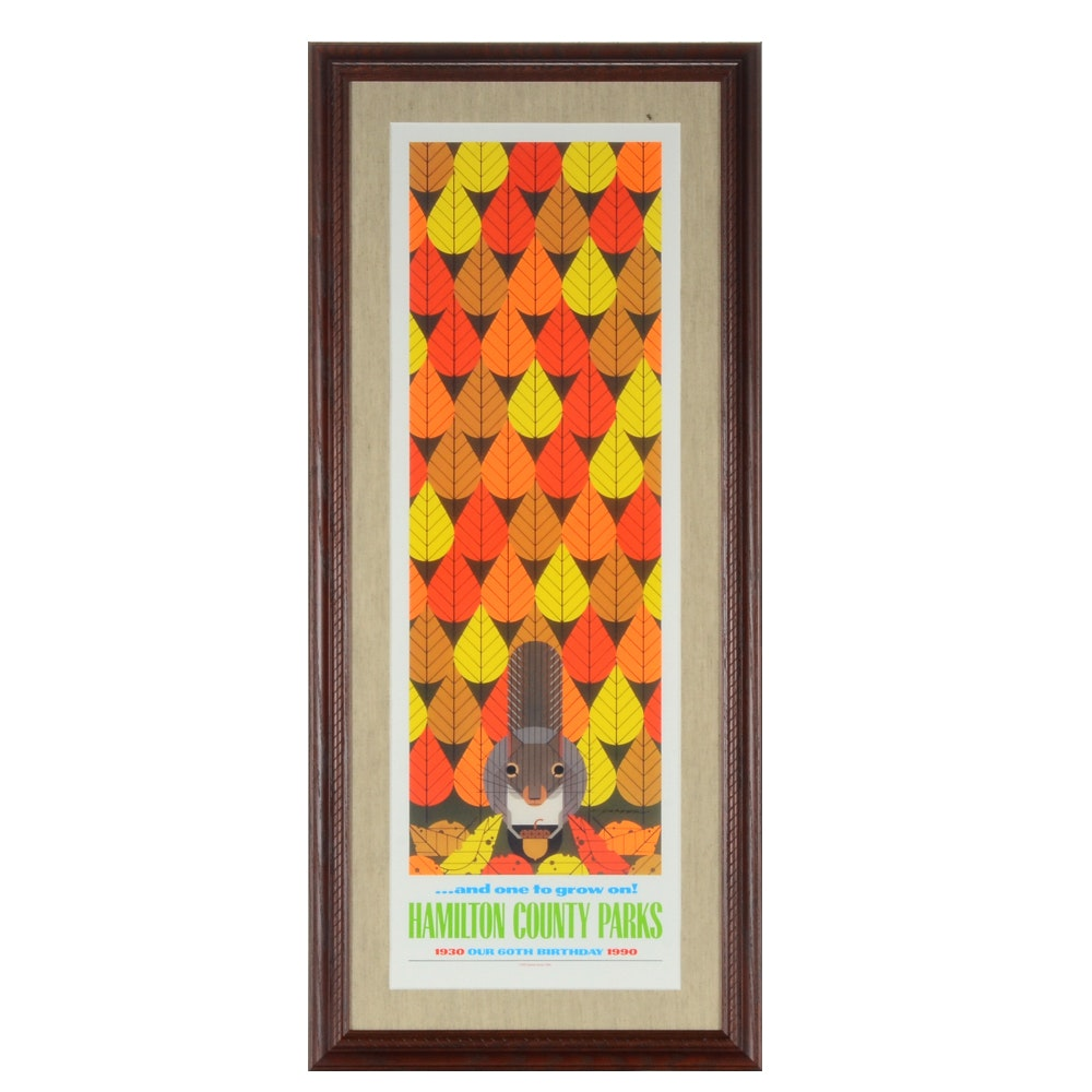 "Charley Harper Offset Lithograph ""One to Grow On"" for Hamilton County Parks"