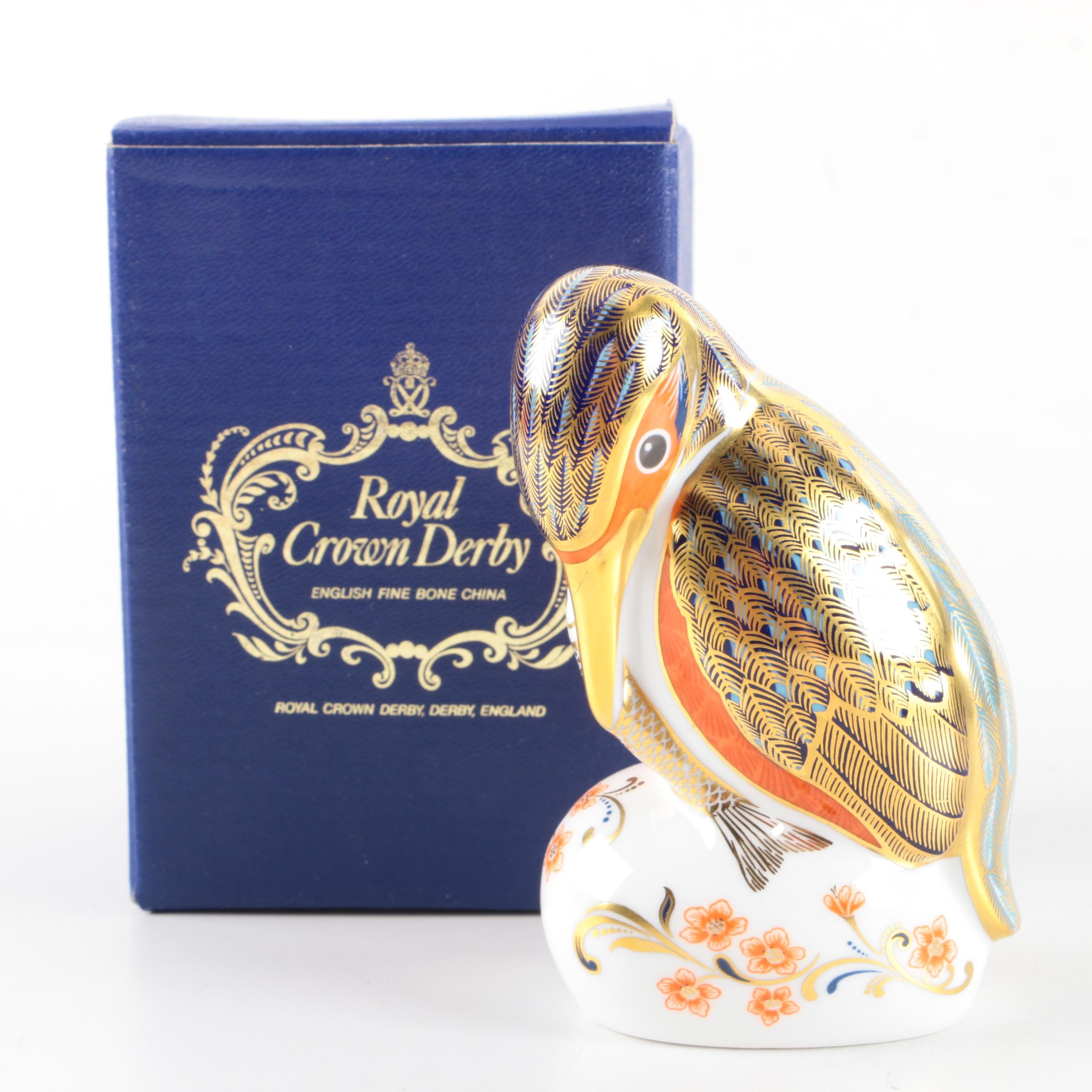 "Royal Crown Derby Imari ""Kingfisher"" Porcelain Paperweight"