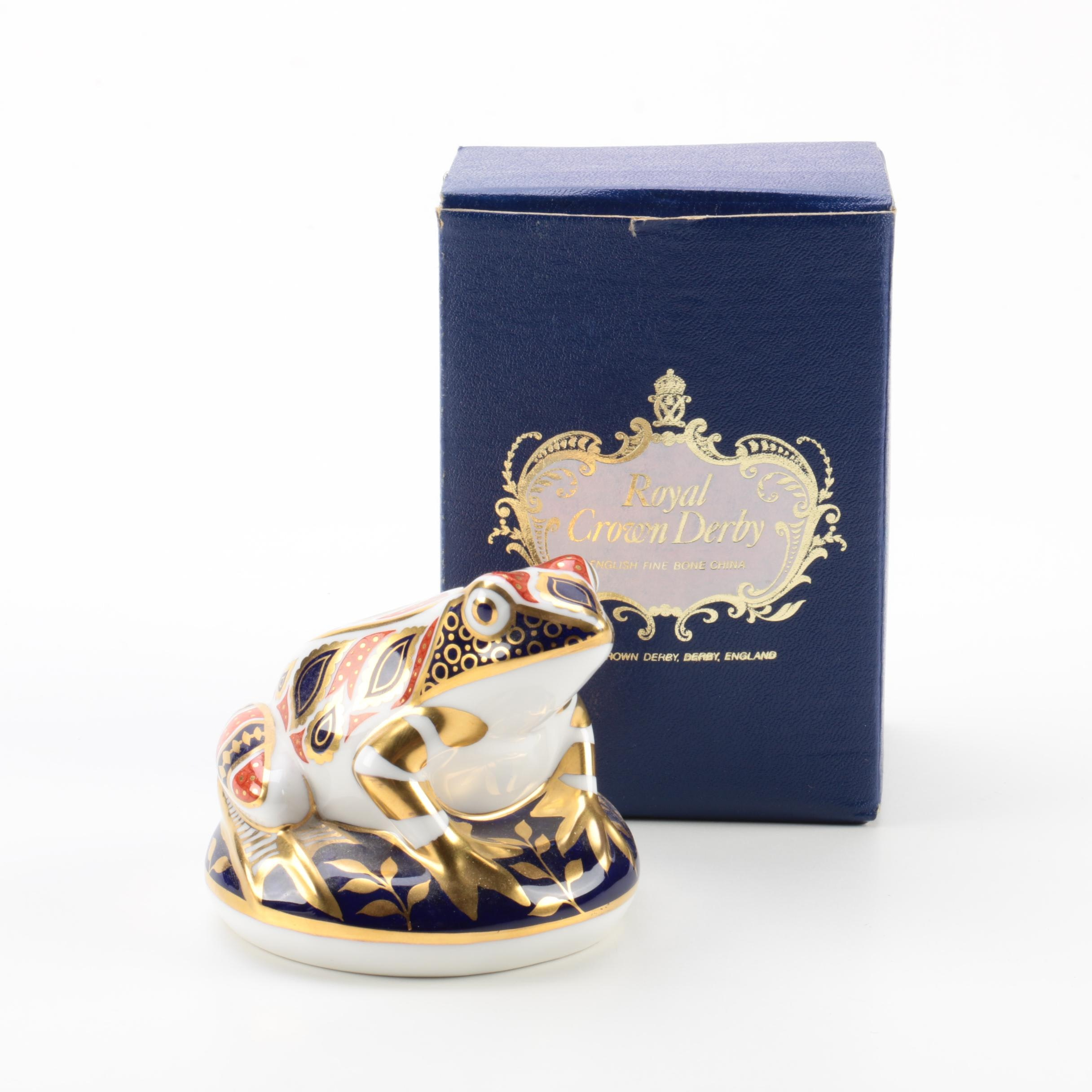 "Royal Crown Derby Imari ""Frog"" Porcelain Paperweight"