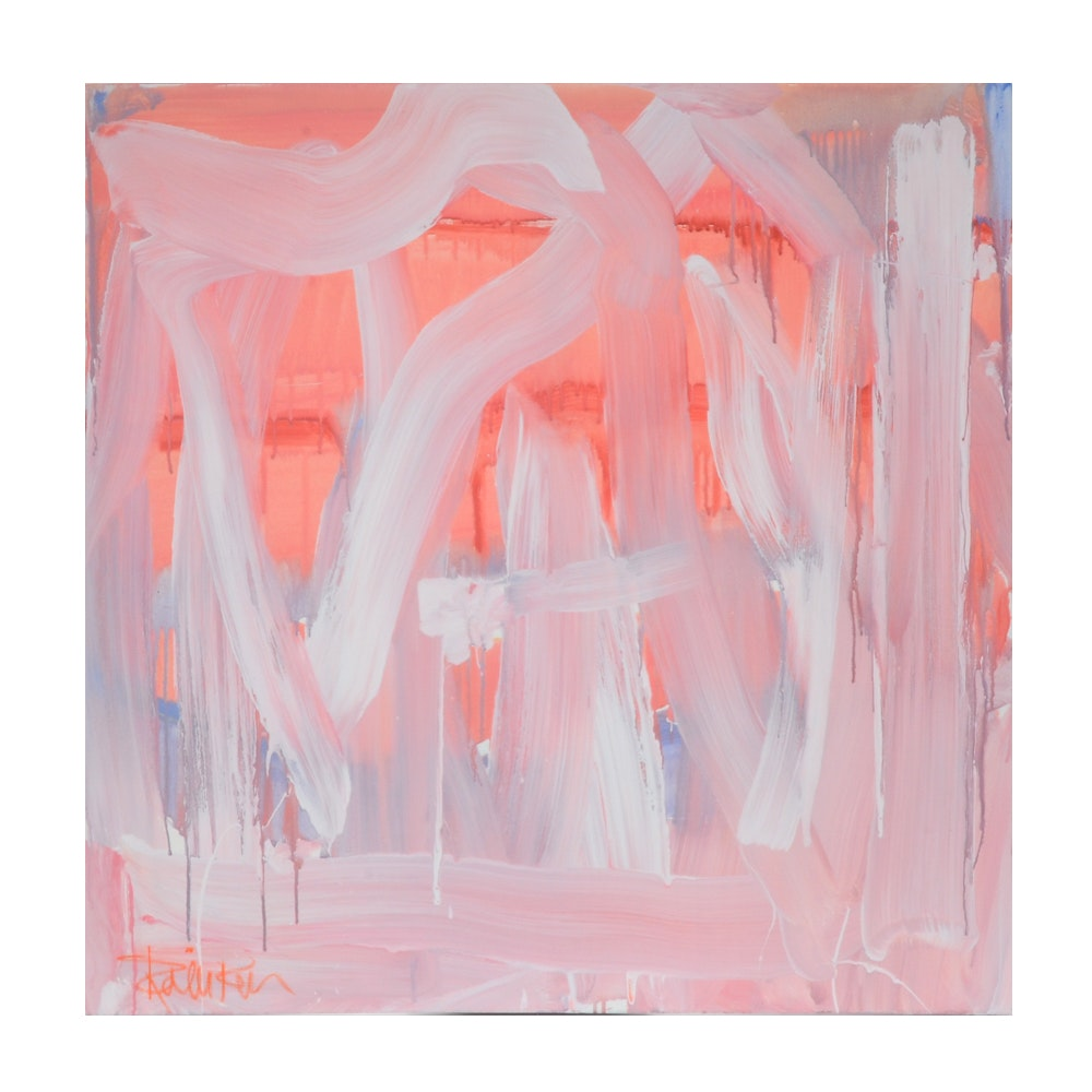 "Robbie Kemper Abstract Acrylic Painting ""White Wiggles on Pinkish"""