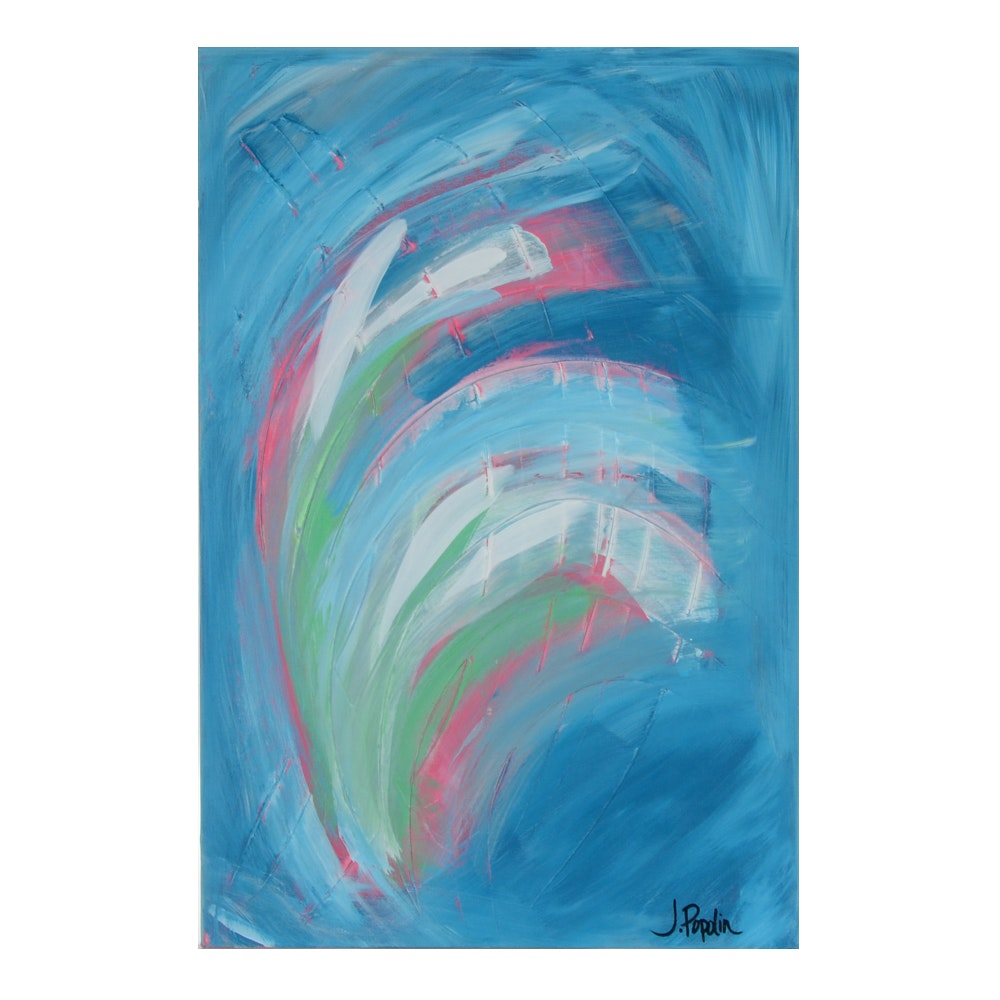 "J. Popolin Acrylic Painting on Canvas ""White Green Swirls with Blue"""