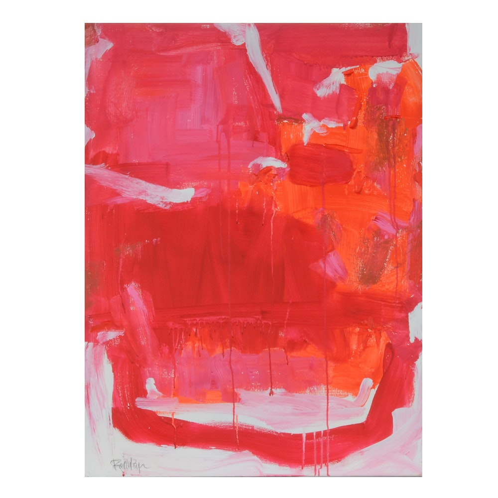 "Robbie Kemper Abstract Acrylic Painting ""Reds with Whites"""