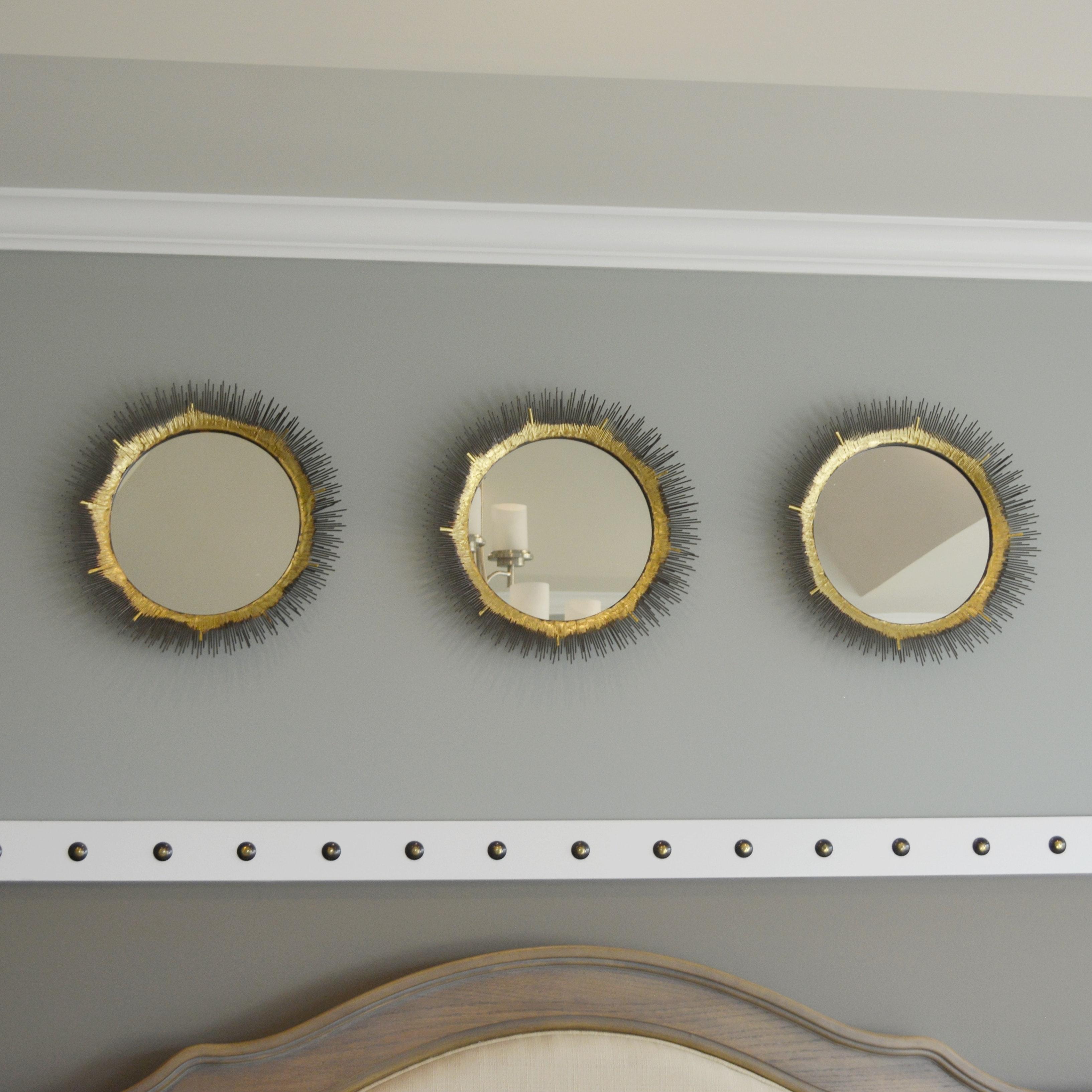 Three Metal Decorative Wall Mirrors