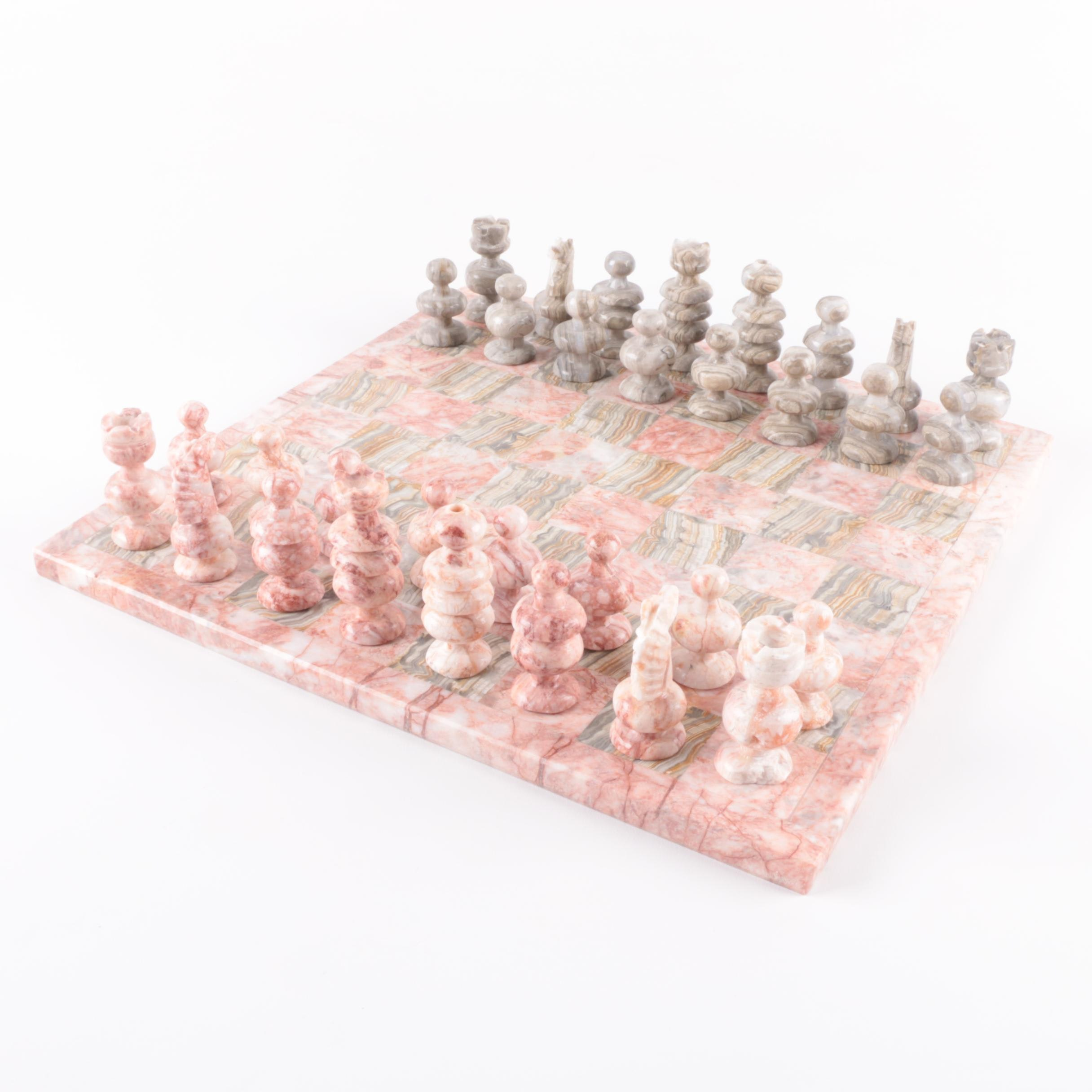 Marble and Banded Calcite Chess Set