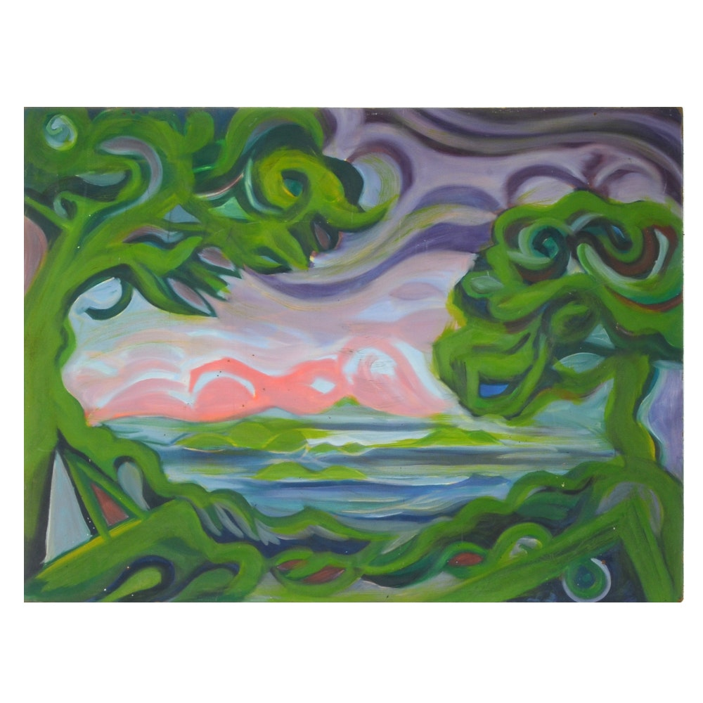 Carol J. Mathews Original Oil Painting on Board of Abstract Landscape