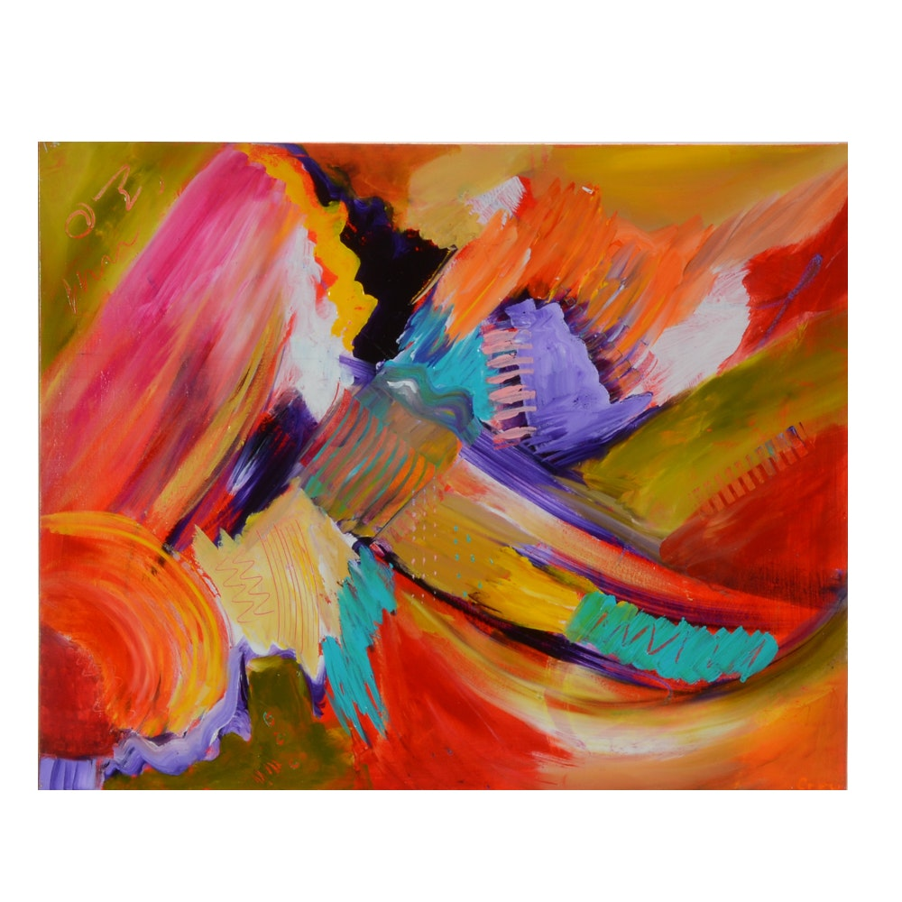 "Susan Crew Original Abstract Acrylic Painting ""Exuberant"""