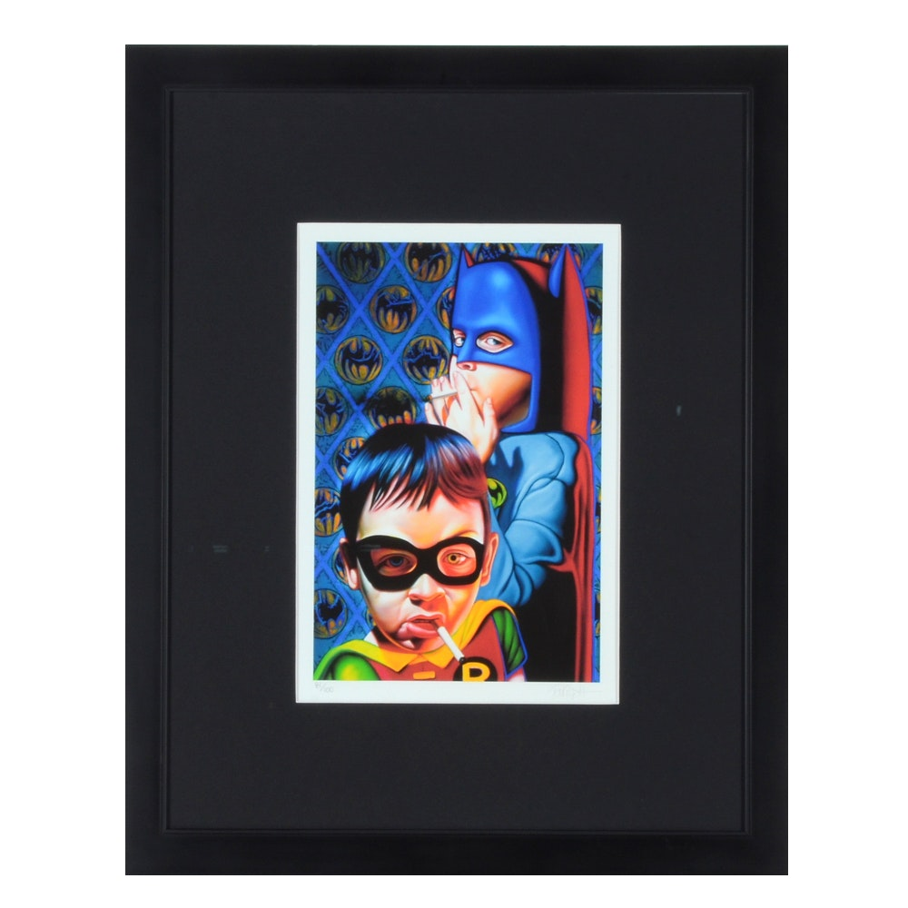 Ron English Limited Edition Giclee of Smoking Kids Dressed as Batman and Robin