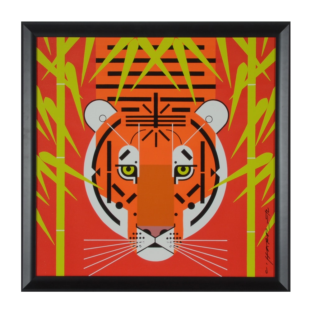 "Giclee Print on Board after Charley Harper ""Asian Tiger"""