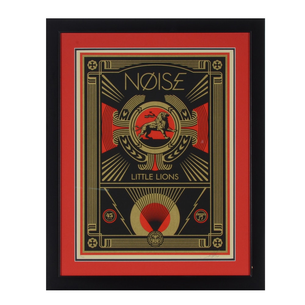 "Shepard Fairey Signed Limited Edition Serigraph ""NØISE Little Lions"""