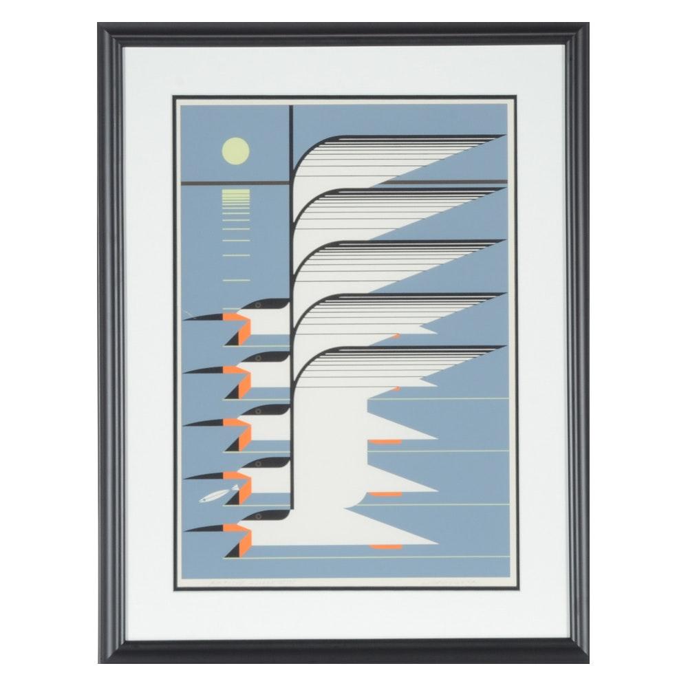"""Charley Harper 1976 Artist Proof Serigraph """"Skimmerscape"""""""
